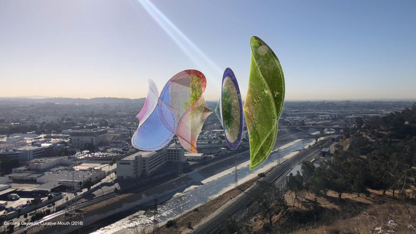 "Carolina Caycedo's ""Curative Mouth"" is part of ""Defining Line,"" a series of immersive AR artworks placed at points along the L.A. River. (Carolina Caycedo)"