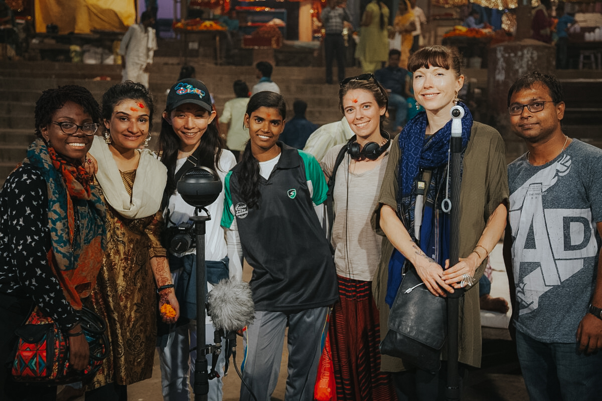 The Girl Icon team in Varanasi - (right to left) Sadah Espii Proctor (Espii Studios), Bhumika Regmi (Malala Fund), Natalie Au (Espii Studios), Rani Kanaujia, Laura Cunningham, Skye Von (little GIANT Wolf), Taposh Roy (Milaan Foundation)