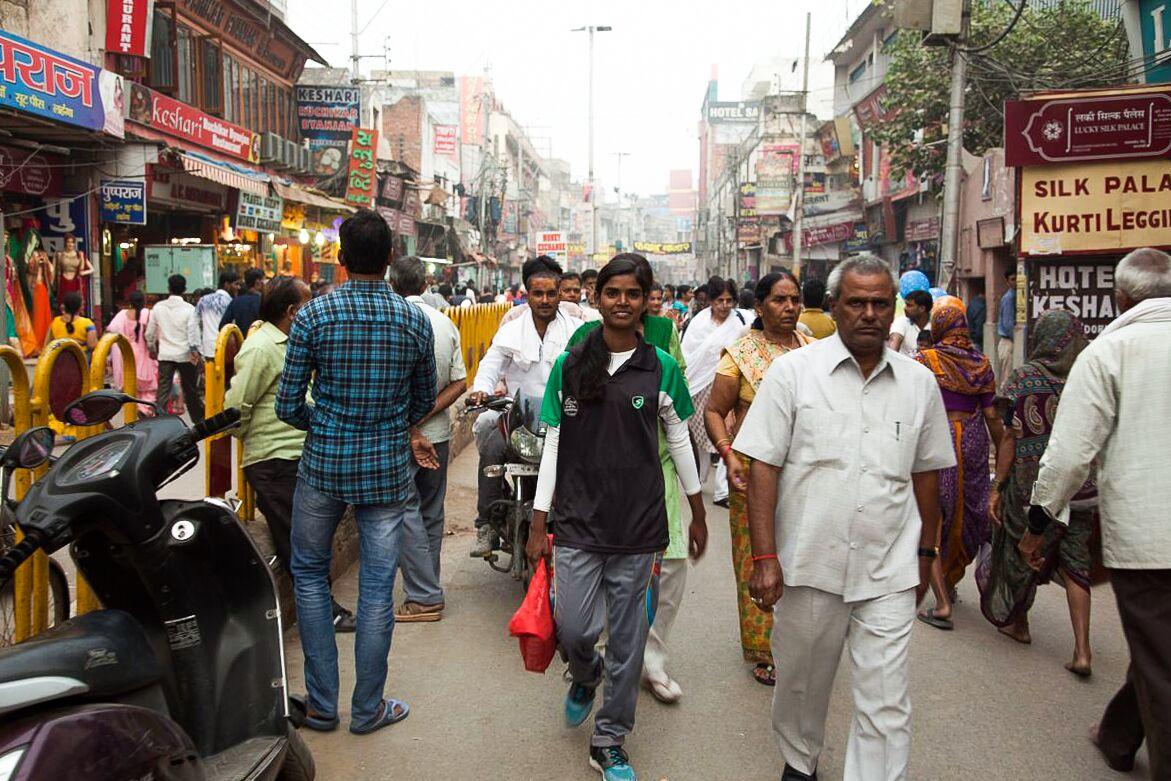 Rani walking through her hometown Varanasi