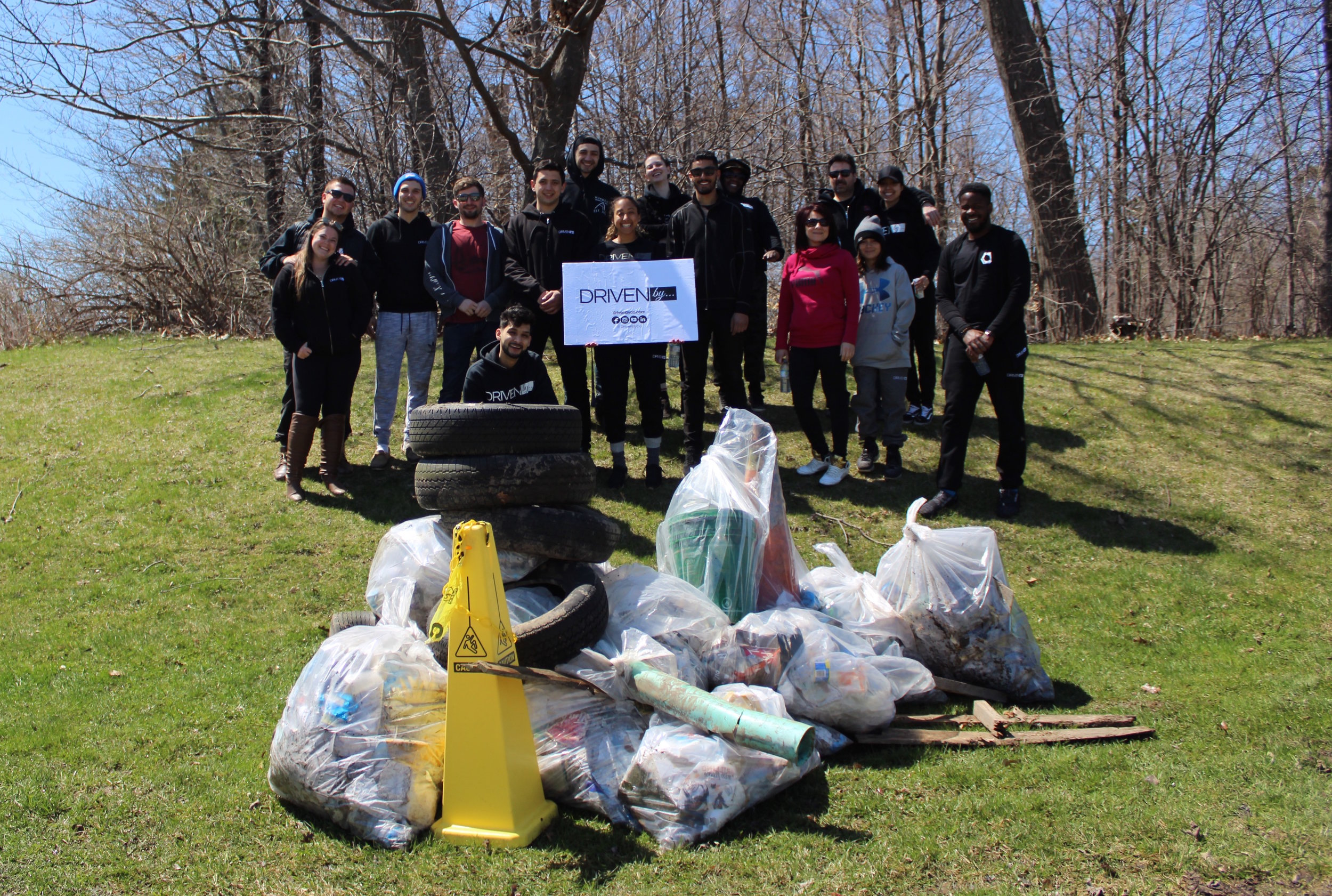Driven By… Adopt-A-Park Initiative - Our first park clean up as part of the Driven By… Adopt-A-Park Initiative was a great success! On April 28th, 2019, our team of volunteers met at Erin Mills Twin Arena excited to clear the park of litter! Put into teams of two and spreading out to cover the park, we were surprised at the objects we found! From full sets of tires, plastic buckets, hundreds of cigarette butts, plastic poles, food wraps, beer bottles, styrofoam and so much more! This reminded everyone to be more conscious of disposing of litter properly.  As a team, we collectively picked up 399lbs of garbage! Everyone was shocked at how much garbage there was and how much we were able to collect in a short period of time!  Thank you to everyone who came to help make a difference!   We will see you at the next park clean up day!