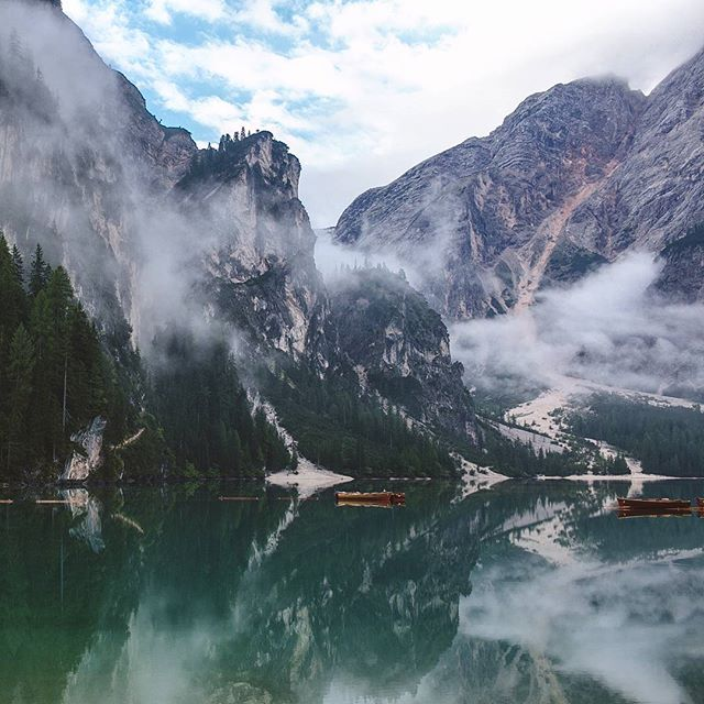 Lake Braies, Italy.  If you ever have the chance to visit the Dolomites, don't think, just go.  Travelling with @juliatrotti