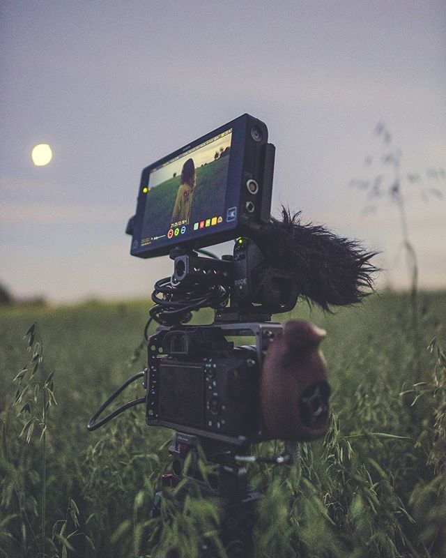 🎥 Blue hour shoots in the wheat fields with @juliatrotti  Featuring:  @sonyprousa a7s mkii @rodemic VMP @atomos_news Shogun @tiltamax a7s cage  @benrousa sticks @rokinon glass  Juls rocking @wildfoxcouture