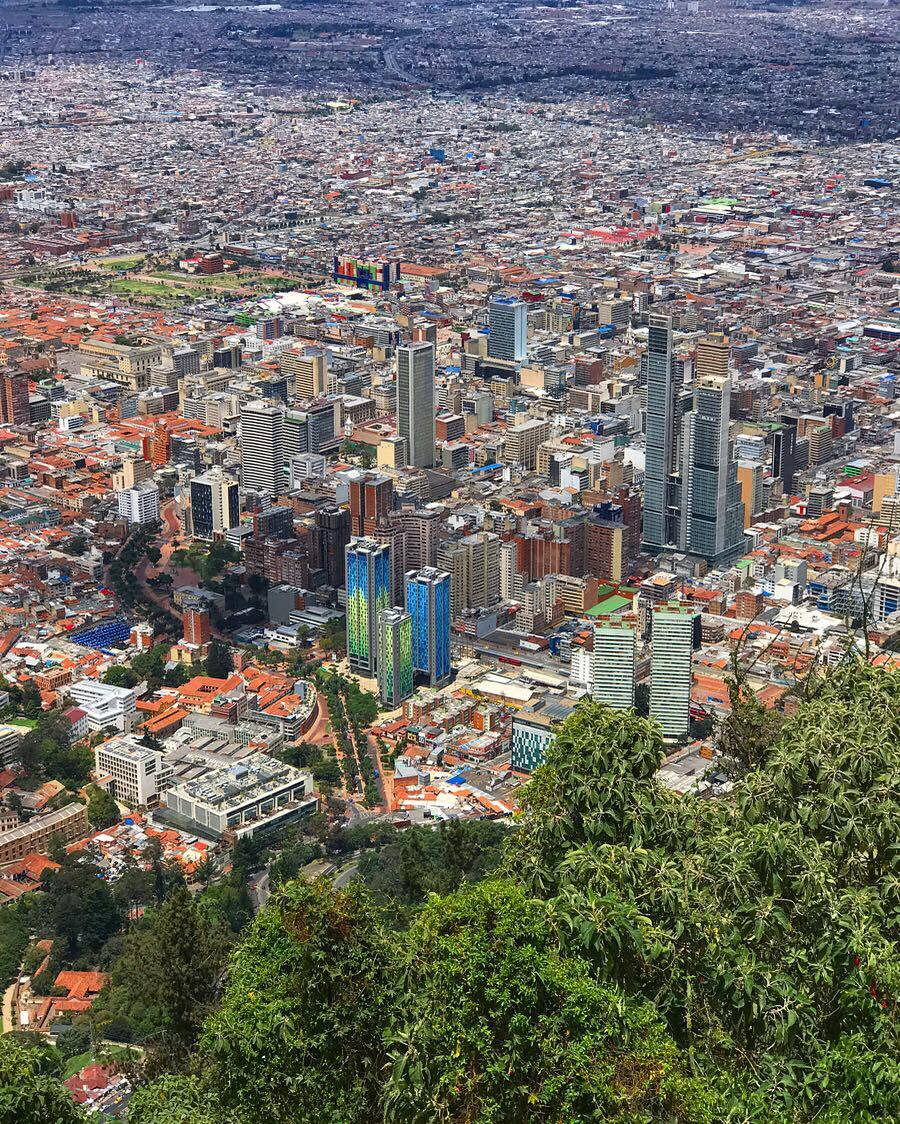 The best view of Bogota, Columbia is from the Mountain Of Monserrat.