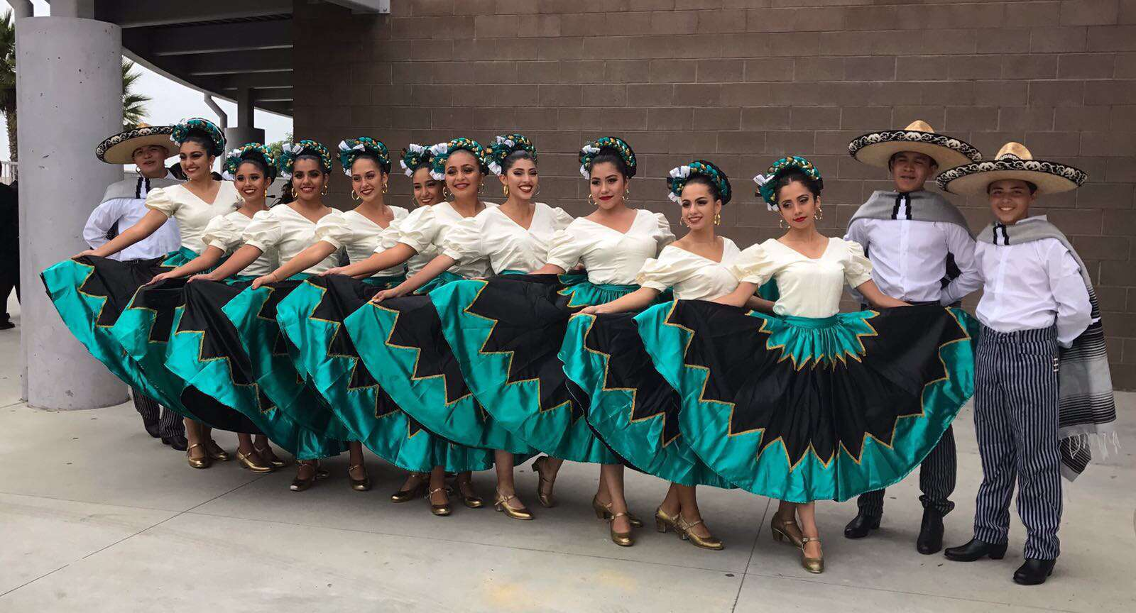 My Folklorico dance team posing before a performance.
