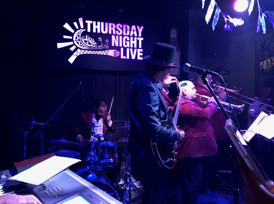 A band playing the blues at Cairo Jazz Club, a popular bar and music venue in Downtown Cairo.