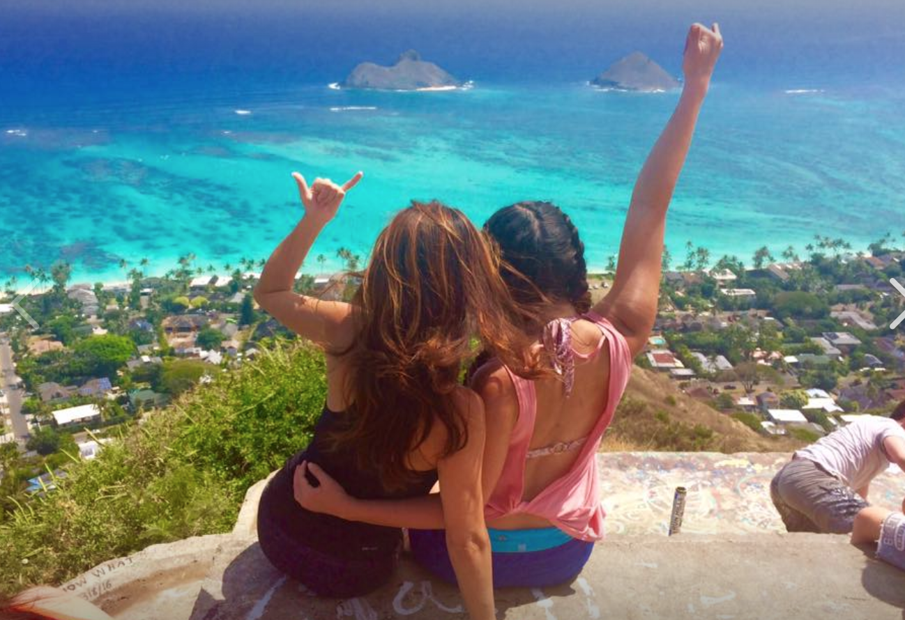 A view from the Lanikai Pillbox in Kailua, Hawaii with my daughter.