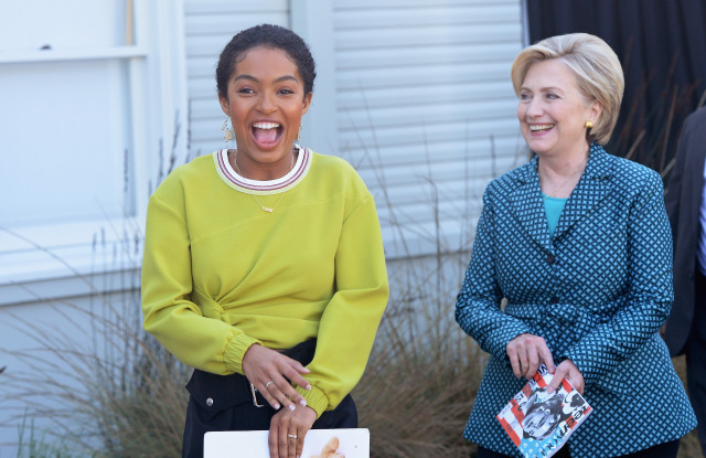 YARA SHAHIDI IS SHAKING THINGS UP, ONE YOUNG VOTER AT A TIME WITH HILARY CLINTON.jpg