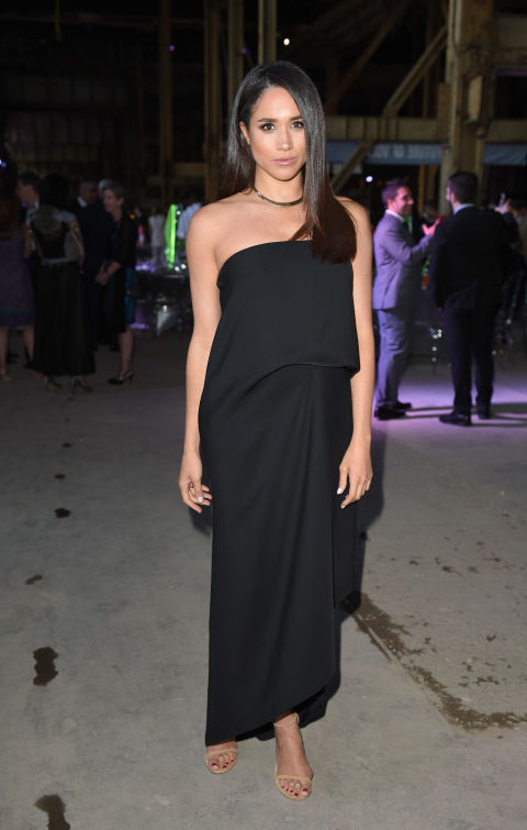Meghan Markle went to the Luminato Big Bang Bash in June 2016, wearing this strapless black draped dress.