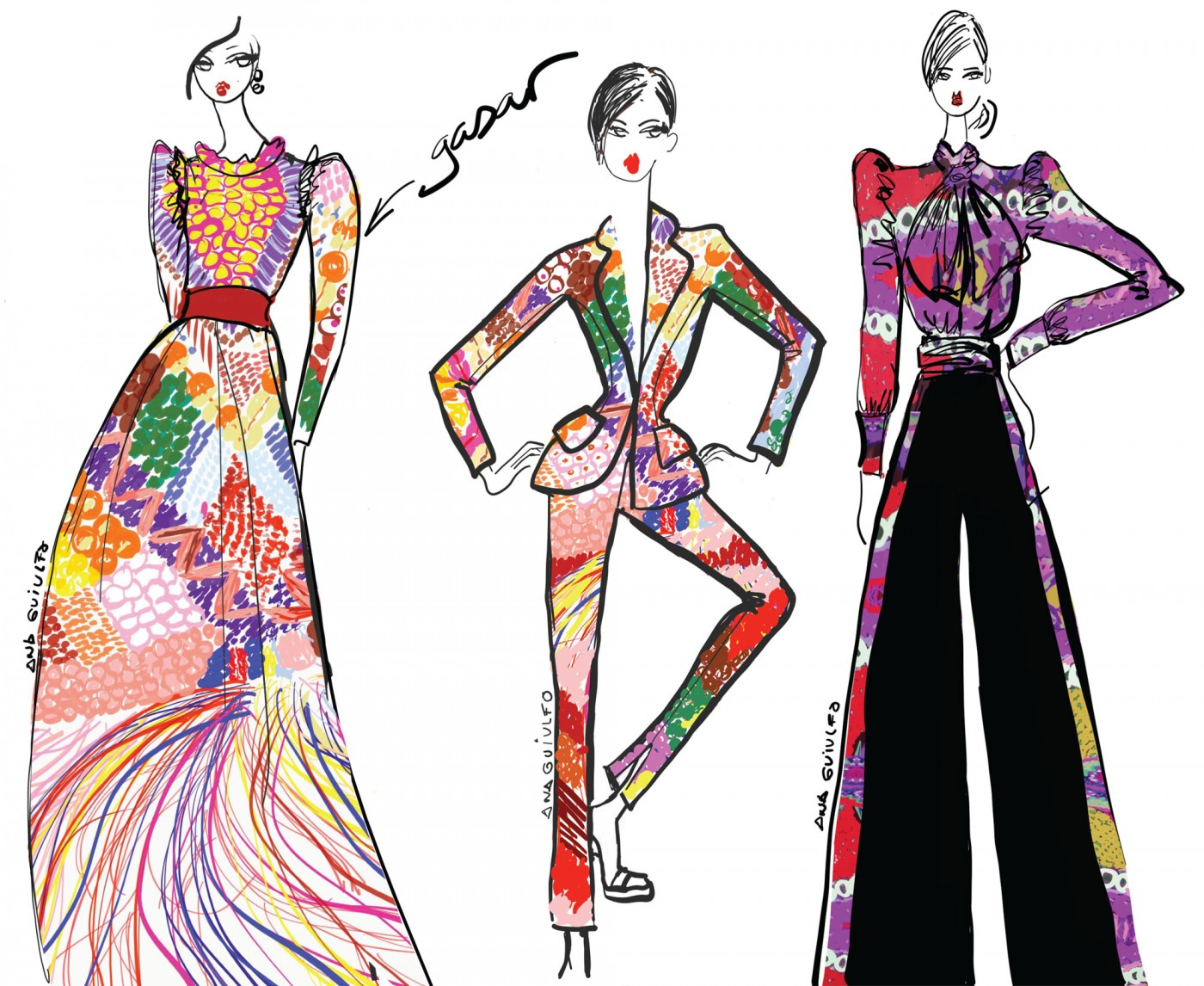 A sketch from designer Ana María Guiulfo for the Epson Digital Couture presentation