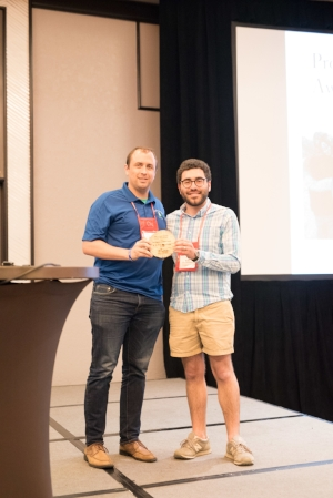 Pyles Camp Executive Director, Stripes (Left), receiving the award from ACA Southern California/Hawaii Local Council of Leaders Chair, Andy Kimmelman (right) at the 2018 ACA Spring Leadership Conference