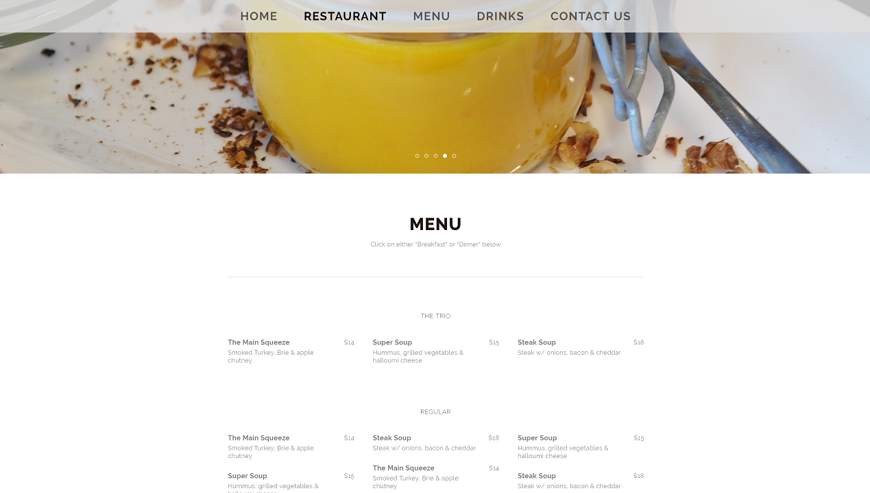 This picture showcases the menu and part of the gallery carousel. The menu is changed via a text editor and can have multiple pages useful for separating the breakfast menu from the dinner menu.