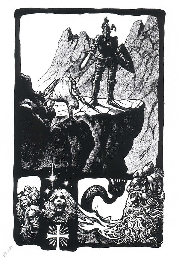 Moving on from  The Lord of the Rings  to  The Silmarillion ... The main panel in the illo above closely resembles the scene in  The Silmarillion  where Fingolfin defies Morgoth before the very gates of Angband. The main thing needing modified would be the giant's sword becoming Morgoth's mace.