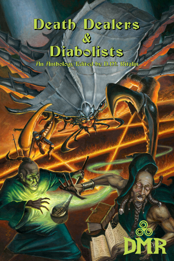 Death Dealers & Diabolists  contains eight exciting tales of swords and sorcery by an assortment of talented authors, including Buzz Dixon (writer for the  Transformers, G.I. Joe,  and  Thundarr the Barbarian  cartoons) and Keith Taylor (author of the  Bard  series).