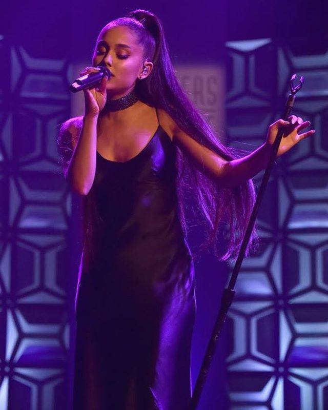 The beautiful and talented Ariana Grande looks stunning wearing our navy Diana silk dress. #beautiful #arianagrande #silkdress #silkmaxi #celebstyle #dress #styleicon #makeup #heels #ponytail #songwritershalloffame #phenomenalwoman #shop #womensfashion #style #lotd