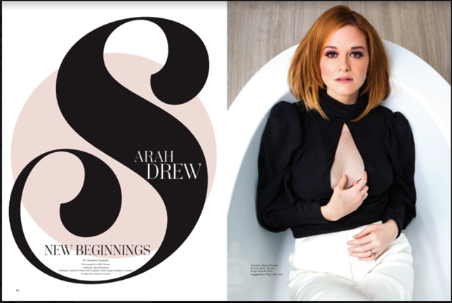 Sarah Drew for Bella Magazine wearing the Tracee top in black