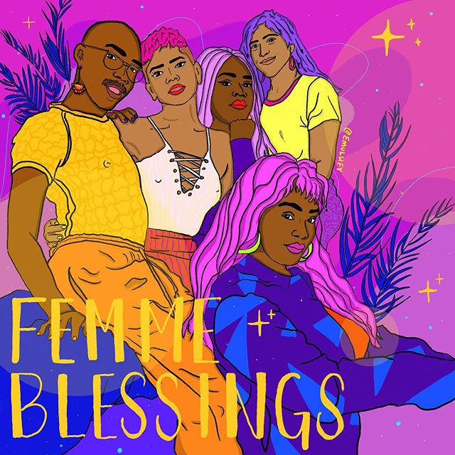 ✨ Femme Blessings ✨ How lucky are we to have femmes in this world? Shutting shit down, holding space, providing support, being fierce and all the other shit you don't want to give us credit for. Tag the femmes you love. . . . . . . . . . . . . . #art #artists #qpoc #illustration #emulsifyart  #undocuart #latinx #procreate #fromtheheart #love #queerart #arttherapy #enby #feministart  #tender #heal #immigrant #selfcare #community #r29regram #sketchaday #healing #illustrationoftheday #femmesofcolor #zine #femmepremacy