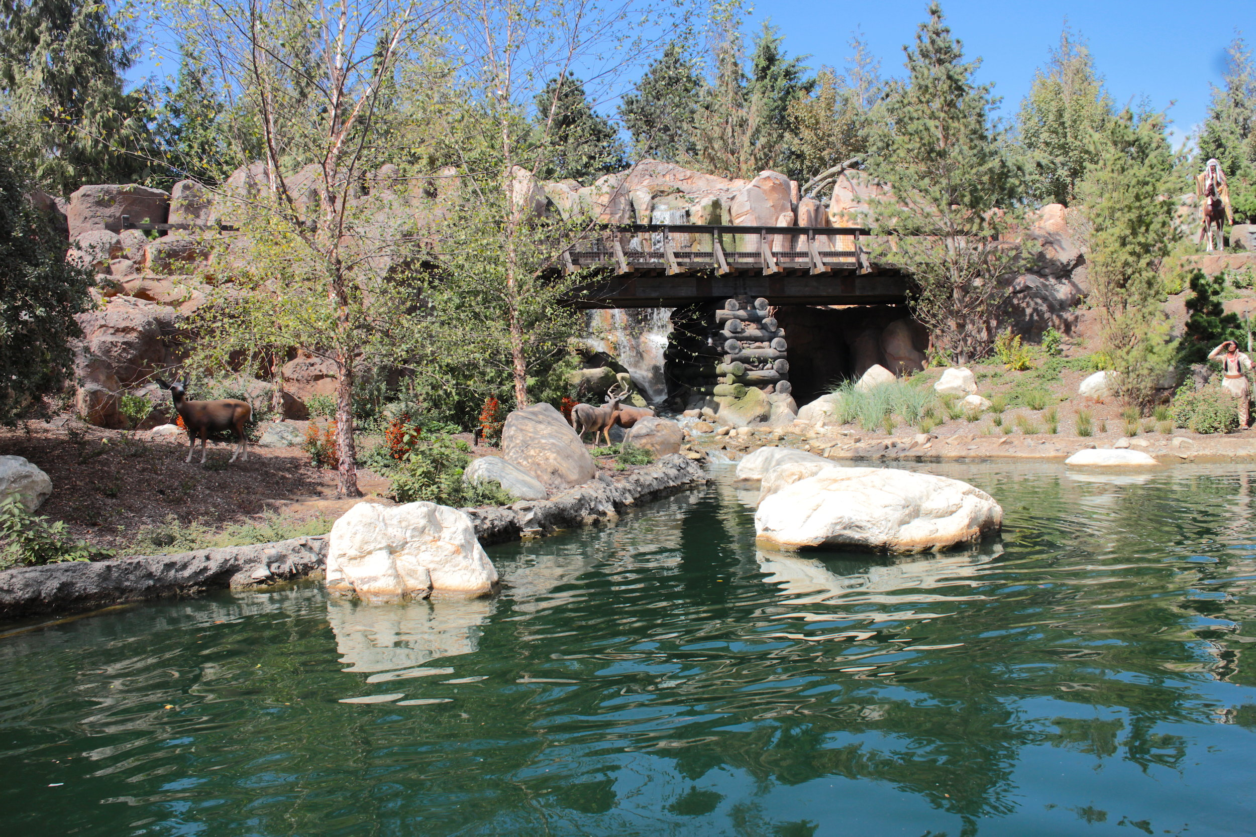Bridge and Waterfall along the Northwest side of the Rivers of America
