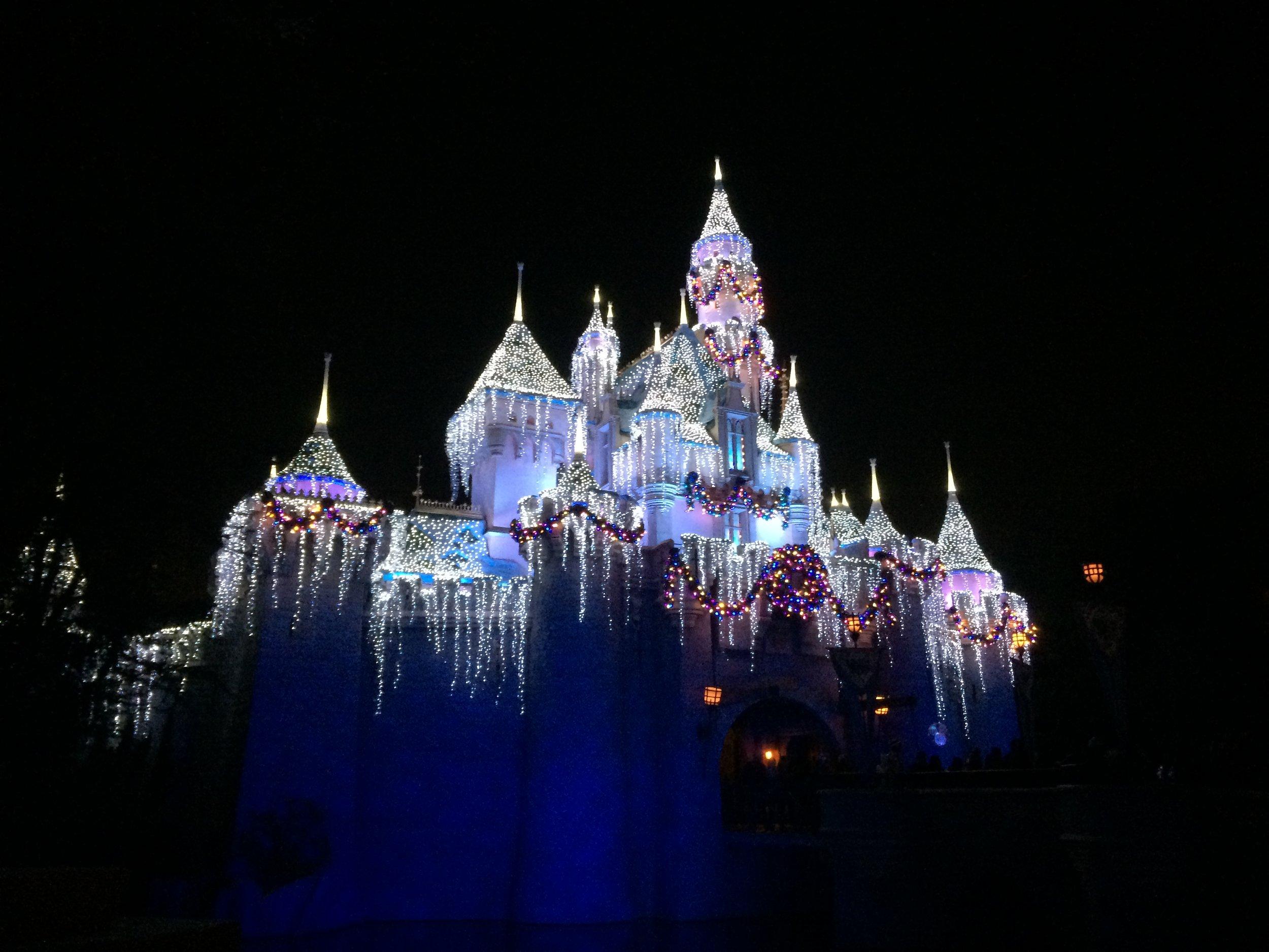 sleeping beauty castle holiday christmas night