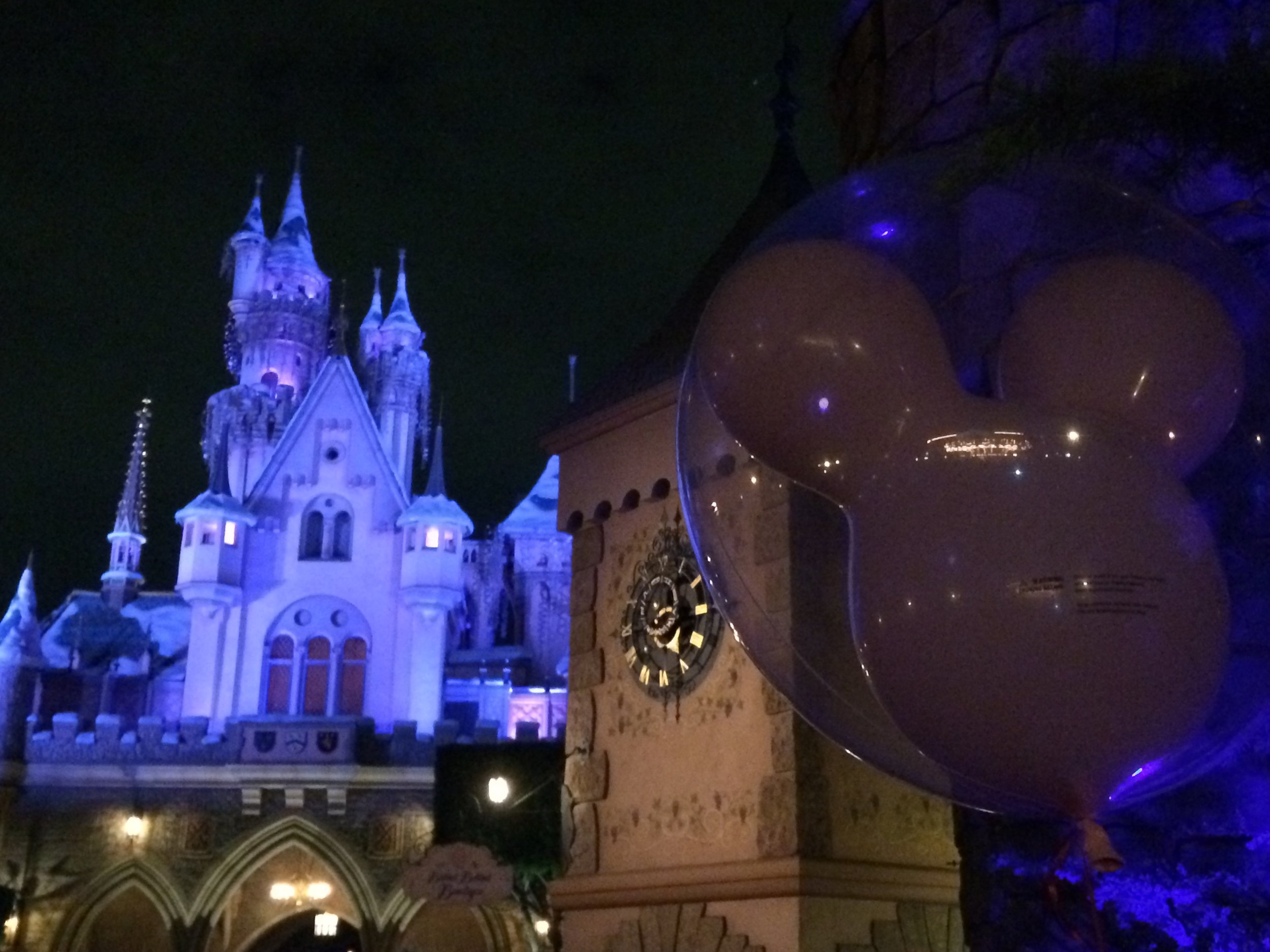 disneyland castle at night