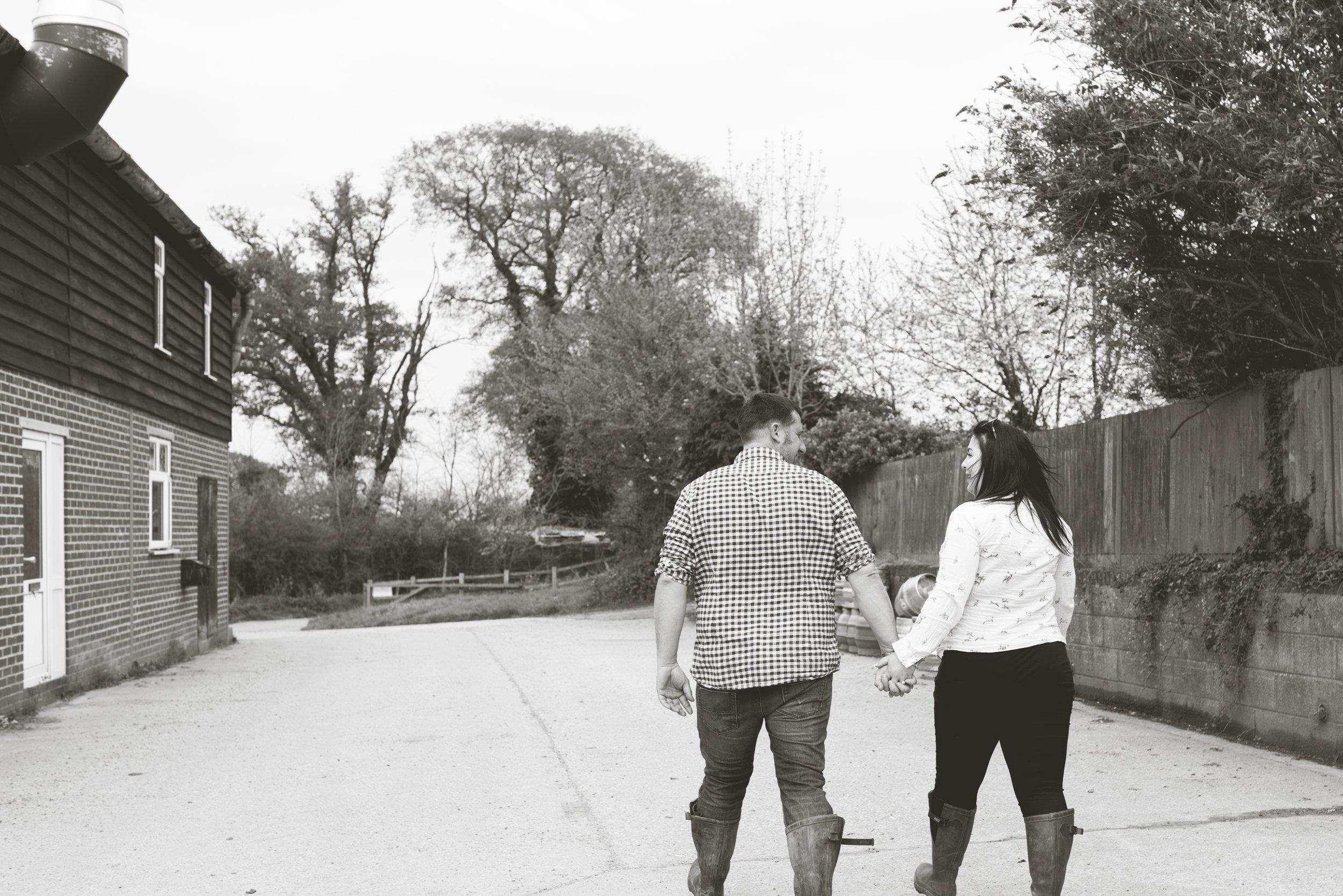 farm couple black and white