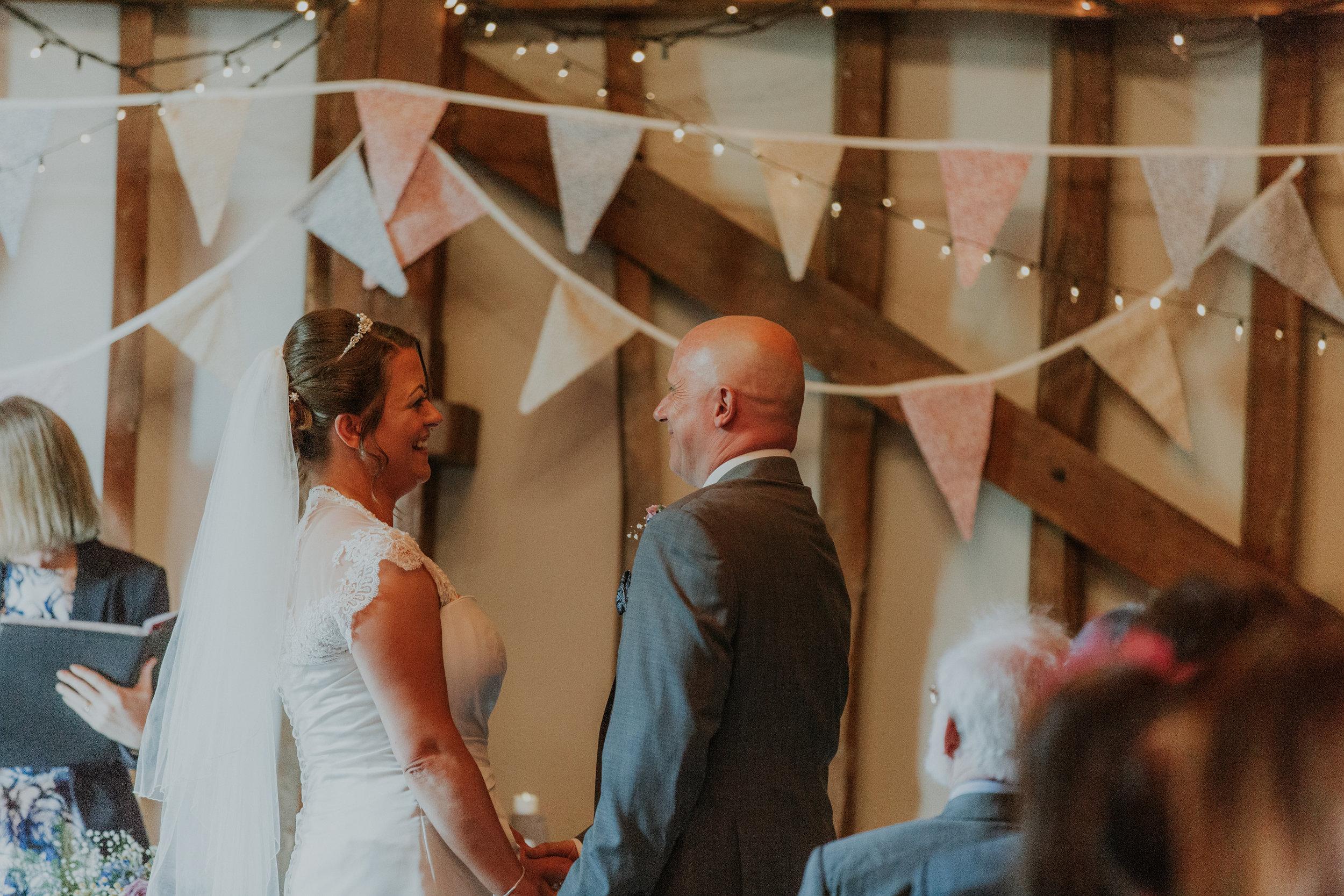barn wedding with bunting