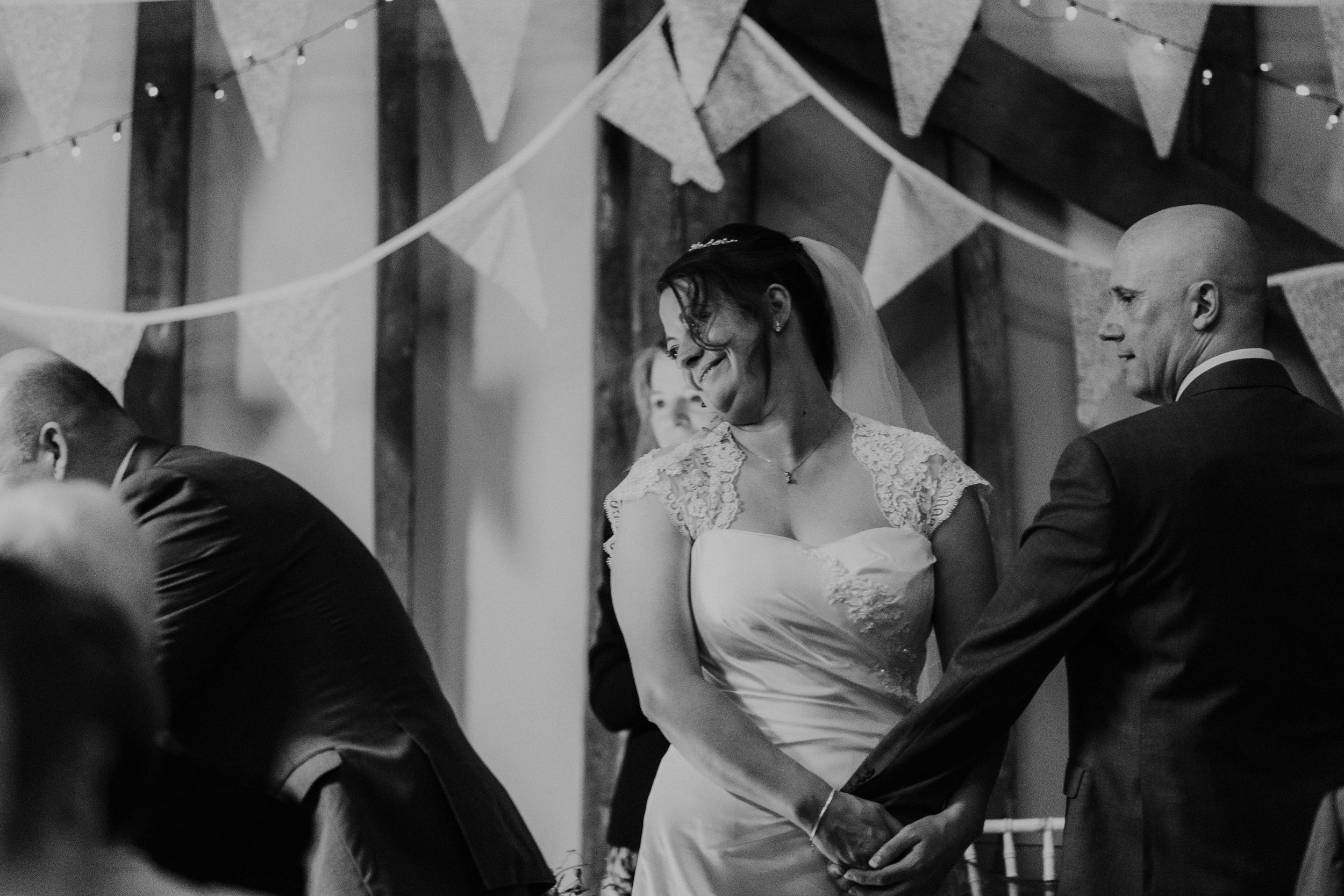 Brides reaction to wedding reading