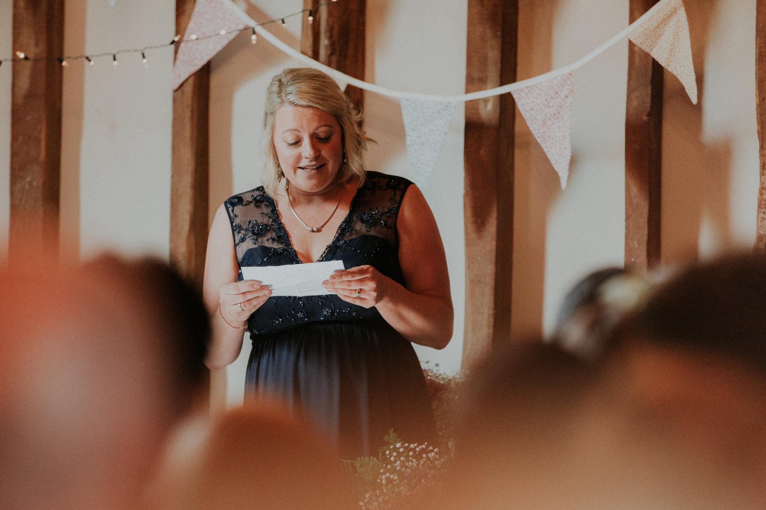 Maid of honour wedding reading