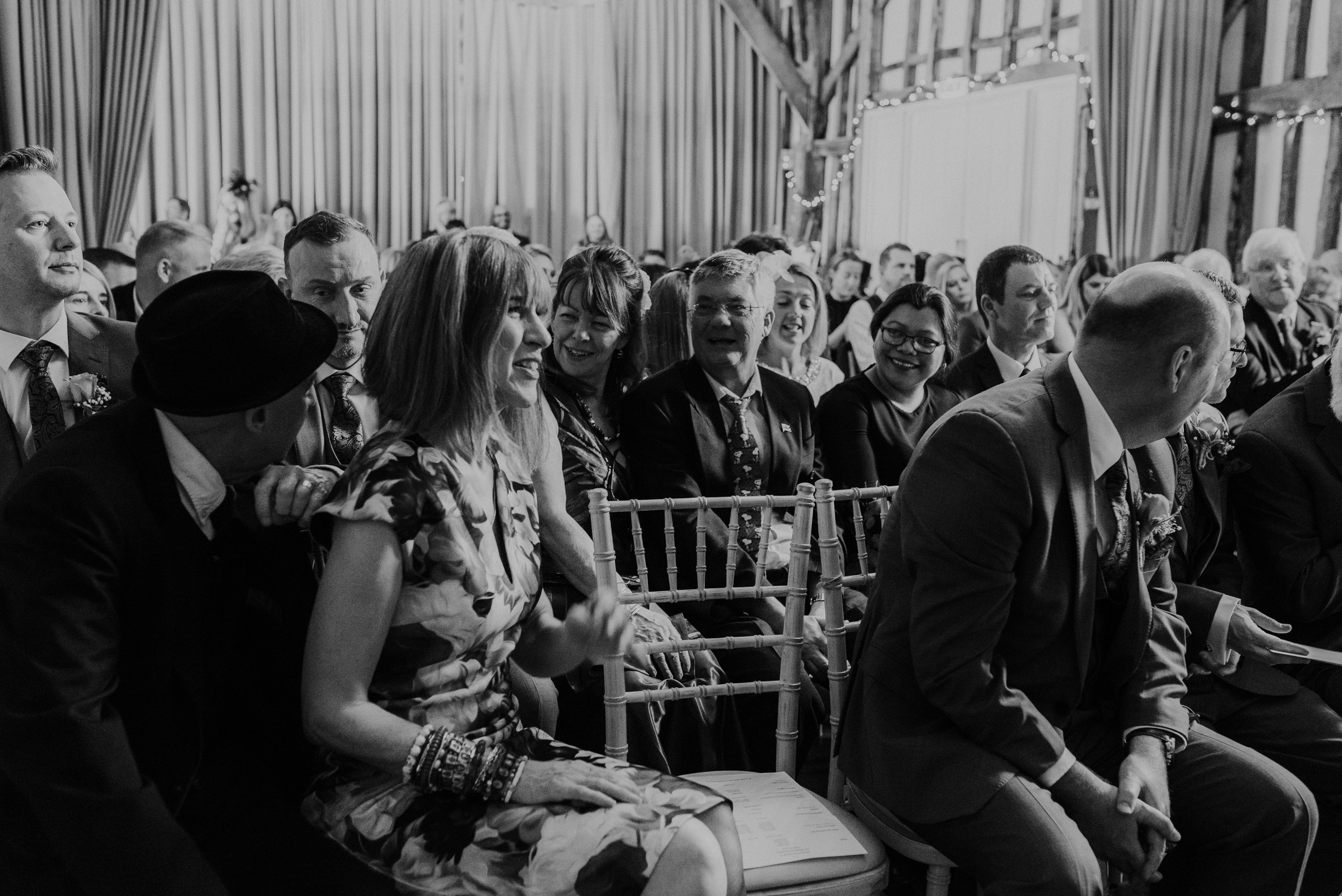 wedding guests in Berkshire barn