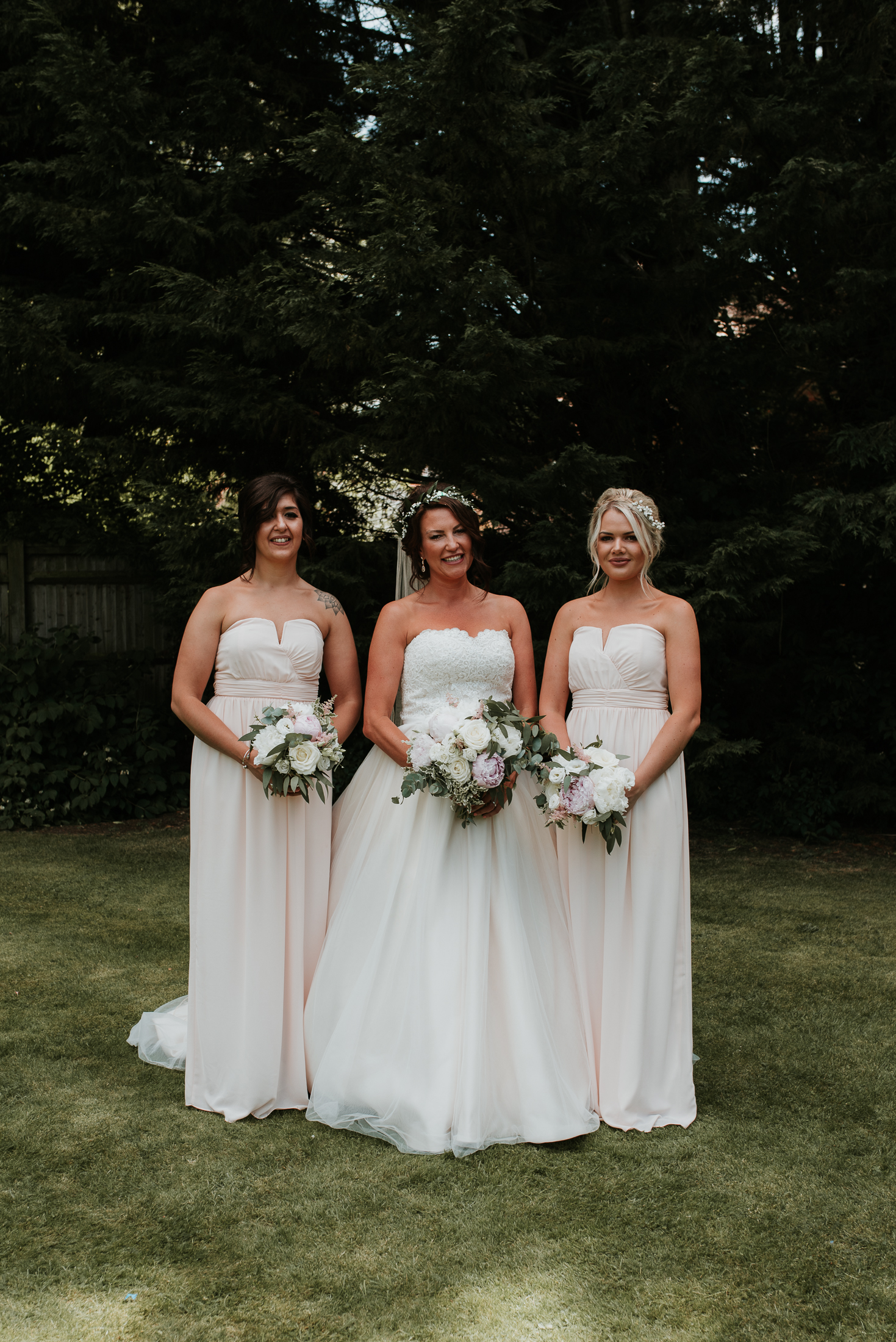 bride with bridesmaids at Olde Bell Hurley