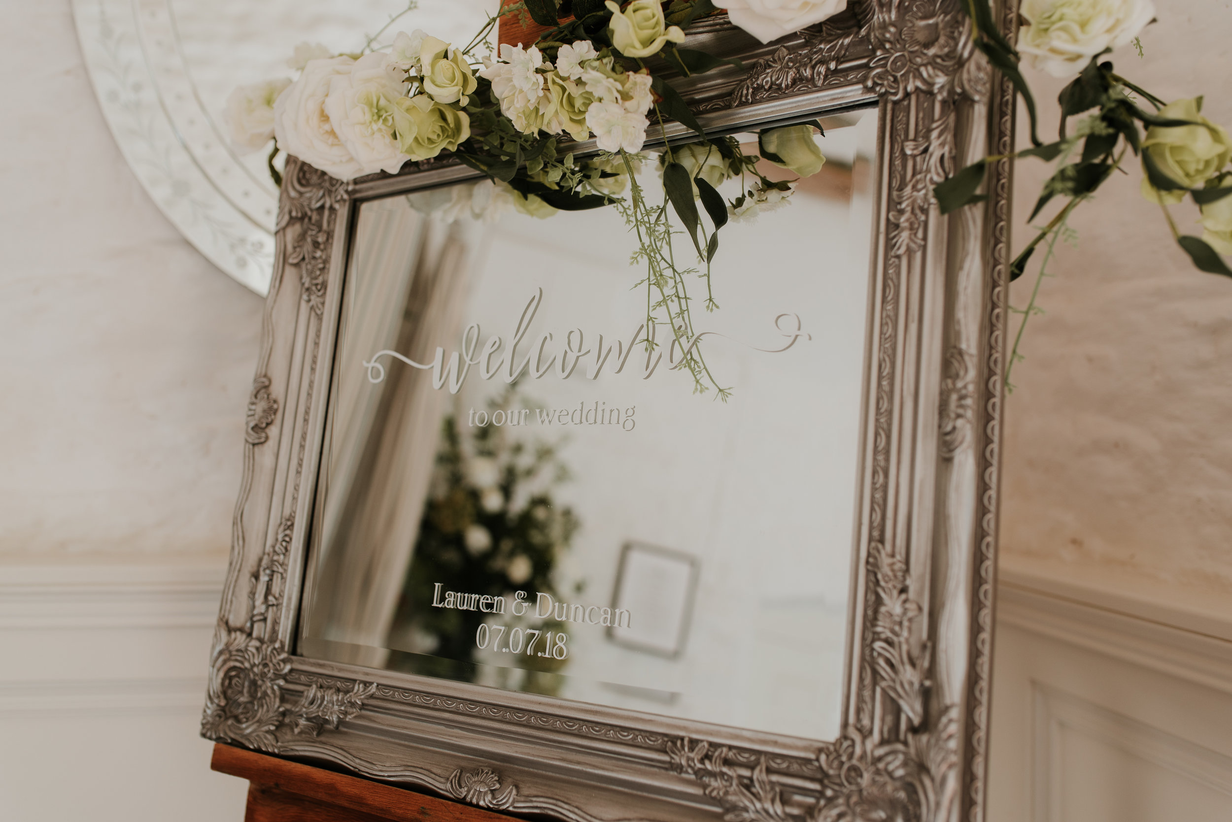 personalised mirror wedding sign