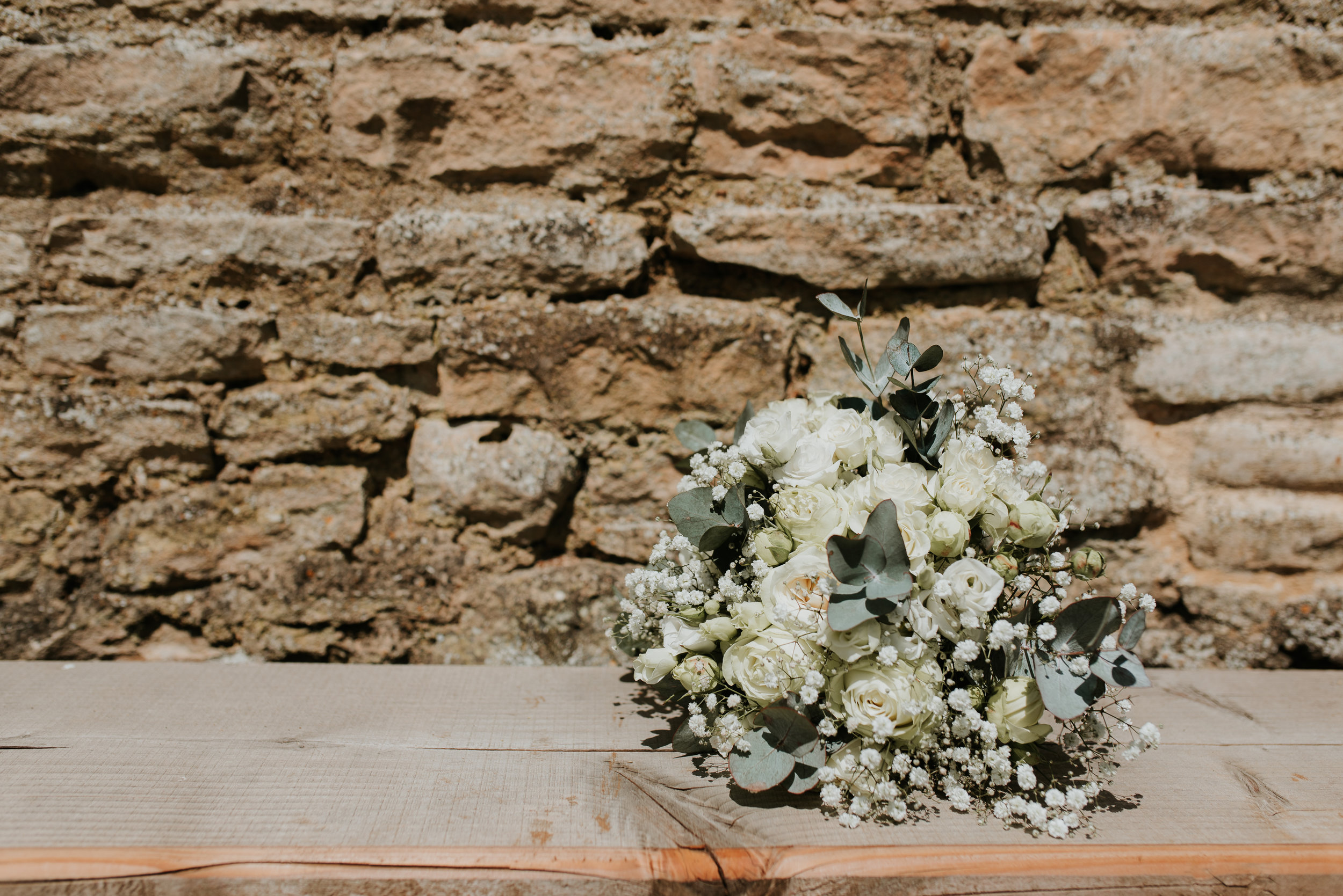 bridal bouquet white & green