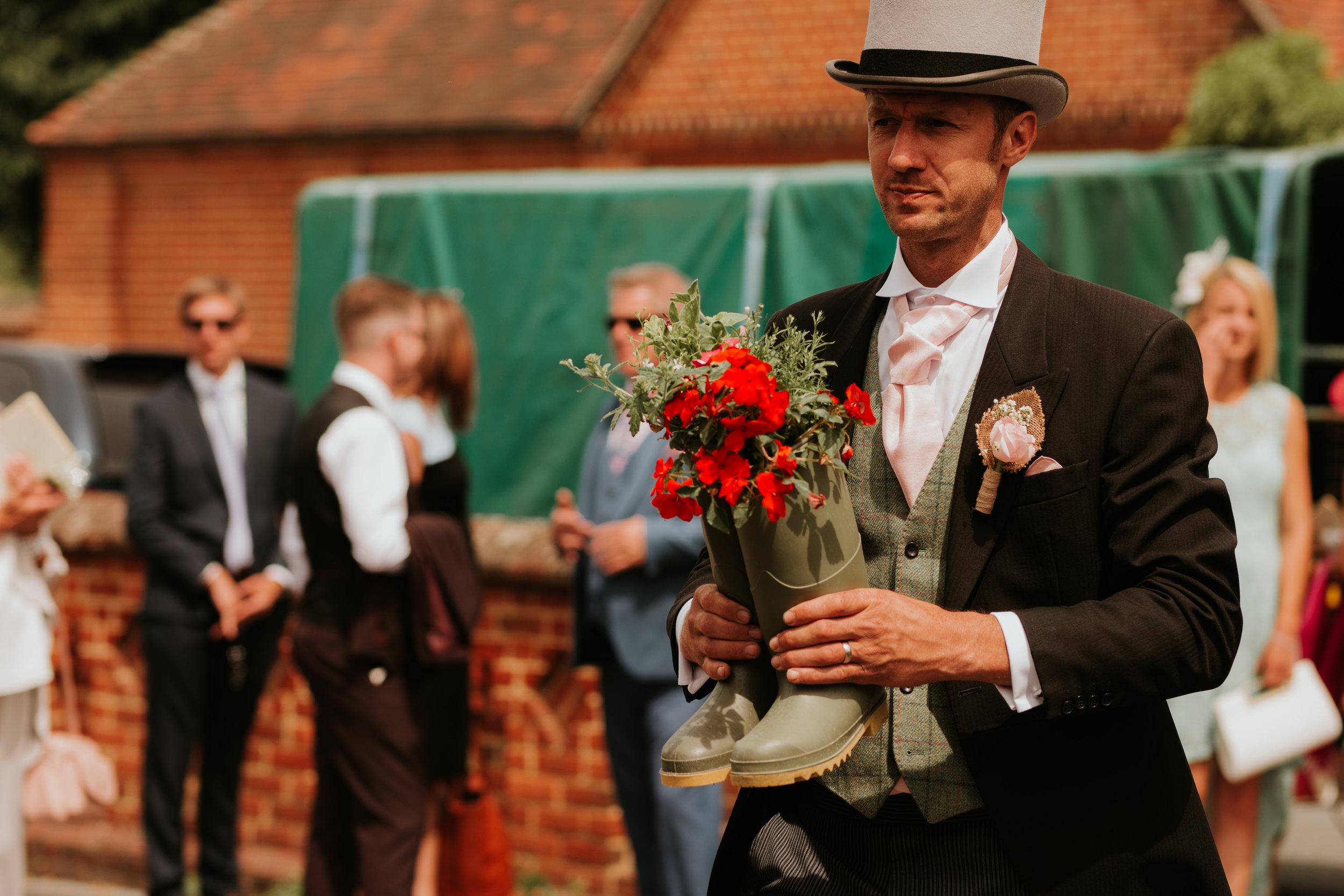 wedding flowers in wellies