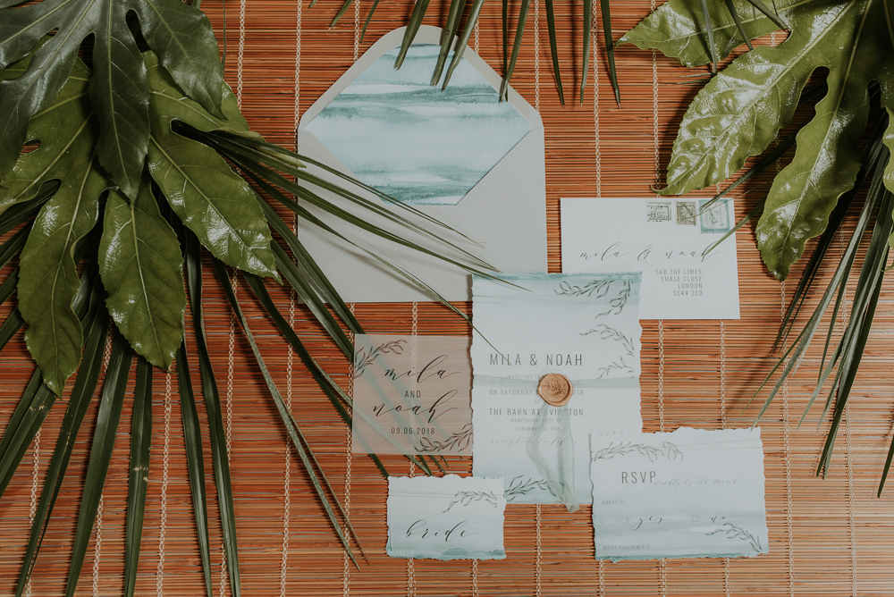 watercolour wedding stationary