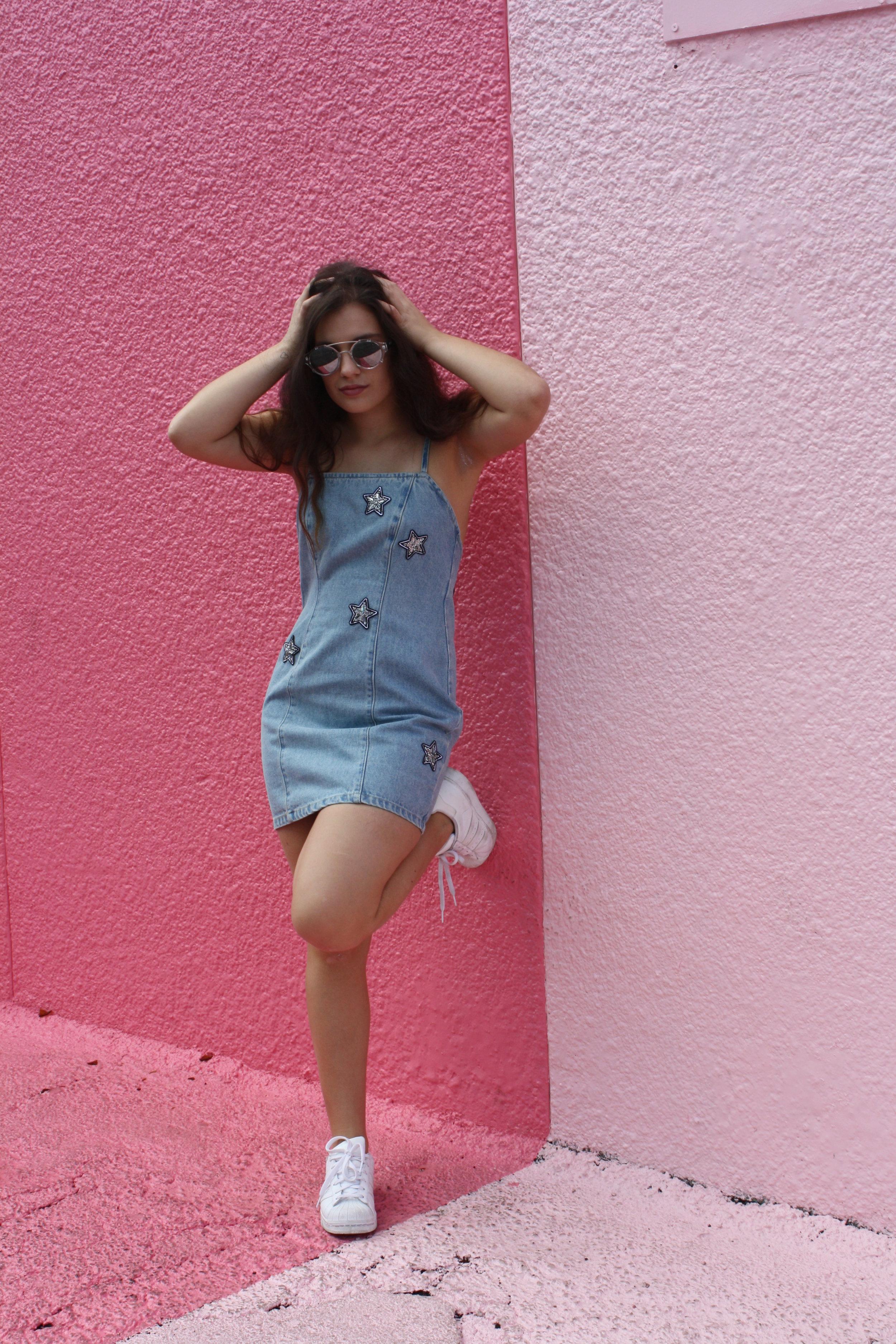 Dress: MINKPINK, Shoes: Adidas, Sunglasses: Quay