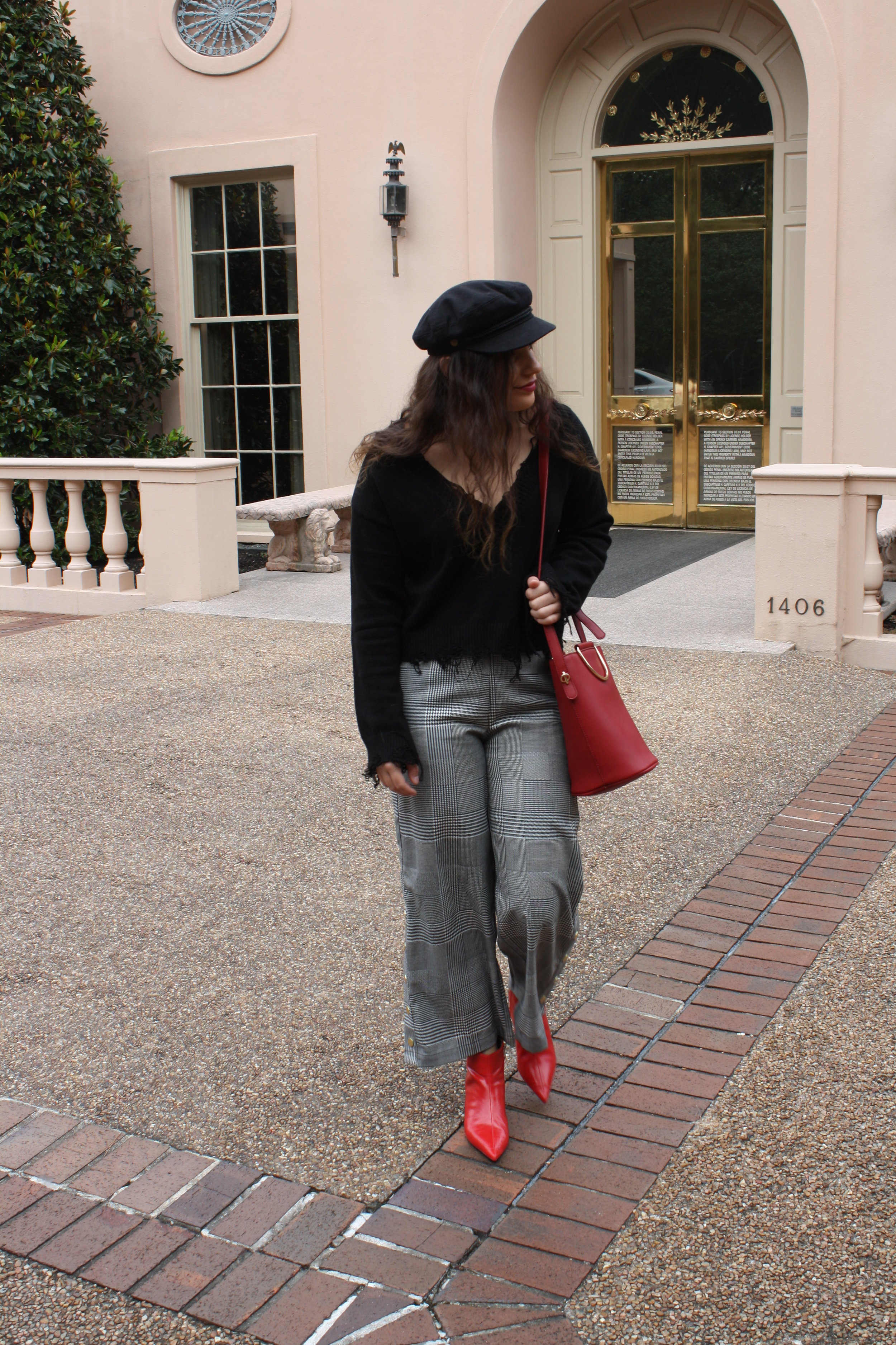 Sweater: Honey Punch; Pants: Target Who What Wear Collection; Shoes: Zara; Hat: Brixton; Purse: Target Who What Wear Collection