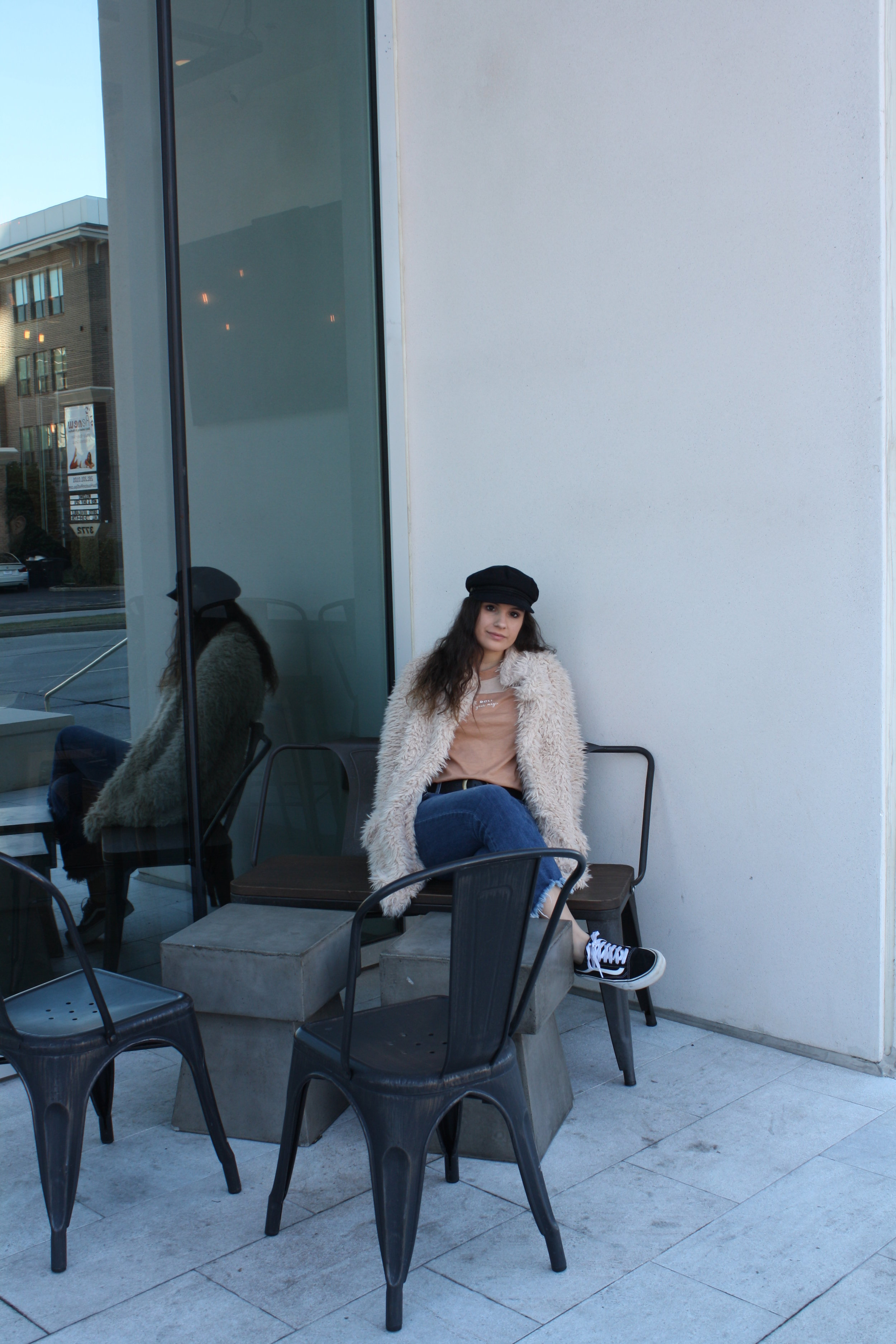 Hat: Brixton; Shirt: MATE the Label; Jacket: Sage the Label; Belt: B-Low The Belt; Jeans: Just Black Denim; Shoes: Vans
