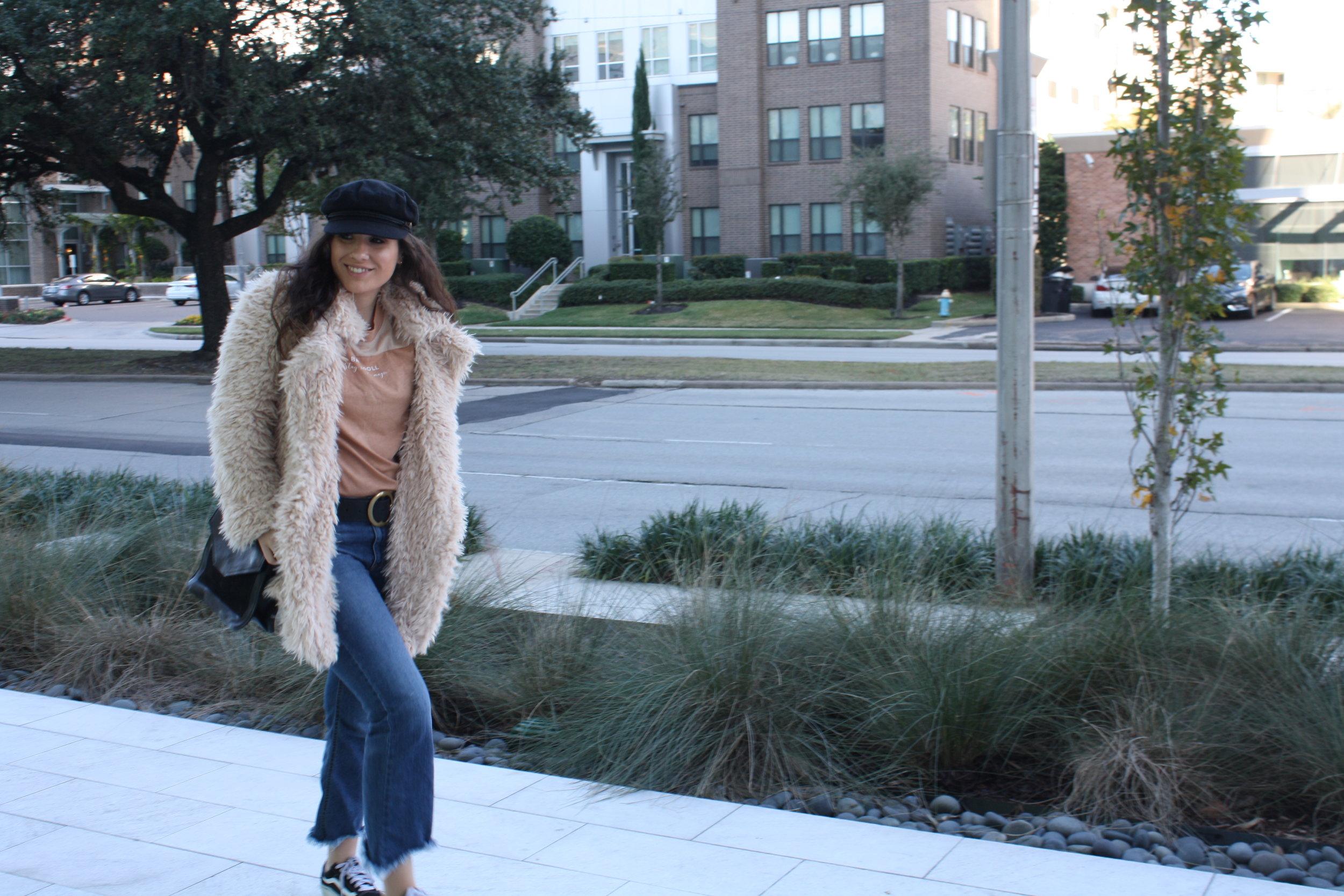Hat: Brixton; Shirt: MATE the Label; Jacket: Sage the Label; Belt: B-Low The Belt; Jeans: Just Black Denim; Shoes: Vans; Purse: FashionABLE