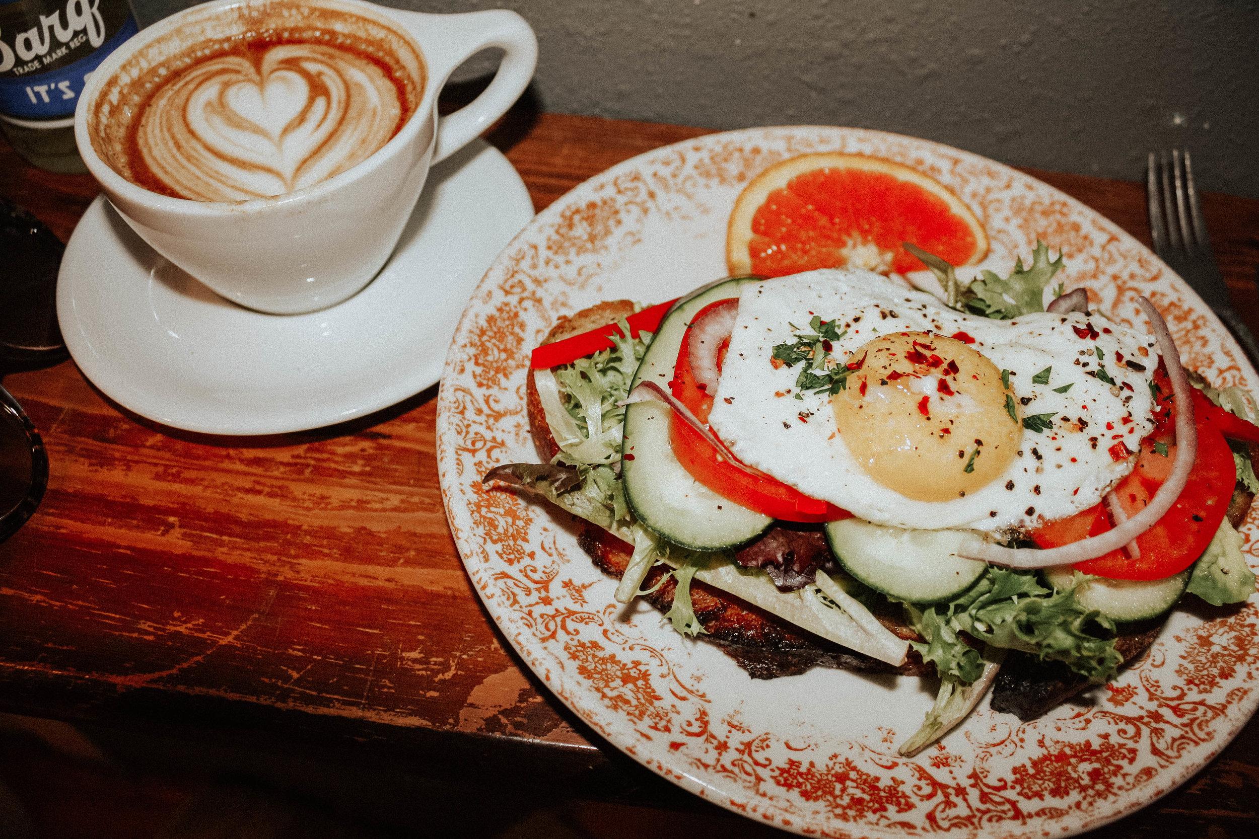 Vanilla Latte; Avocado Toast add Egg