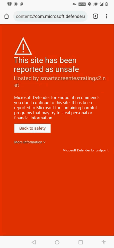 Microsoft Defender for Endpoint on an Android device