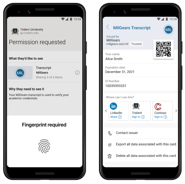 In a pilot of decentralized identity, Trident at AIU can quickly and easily verify transcripts presented by MilGears participants.