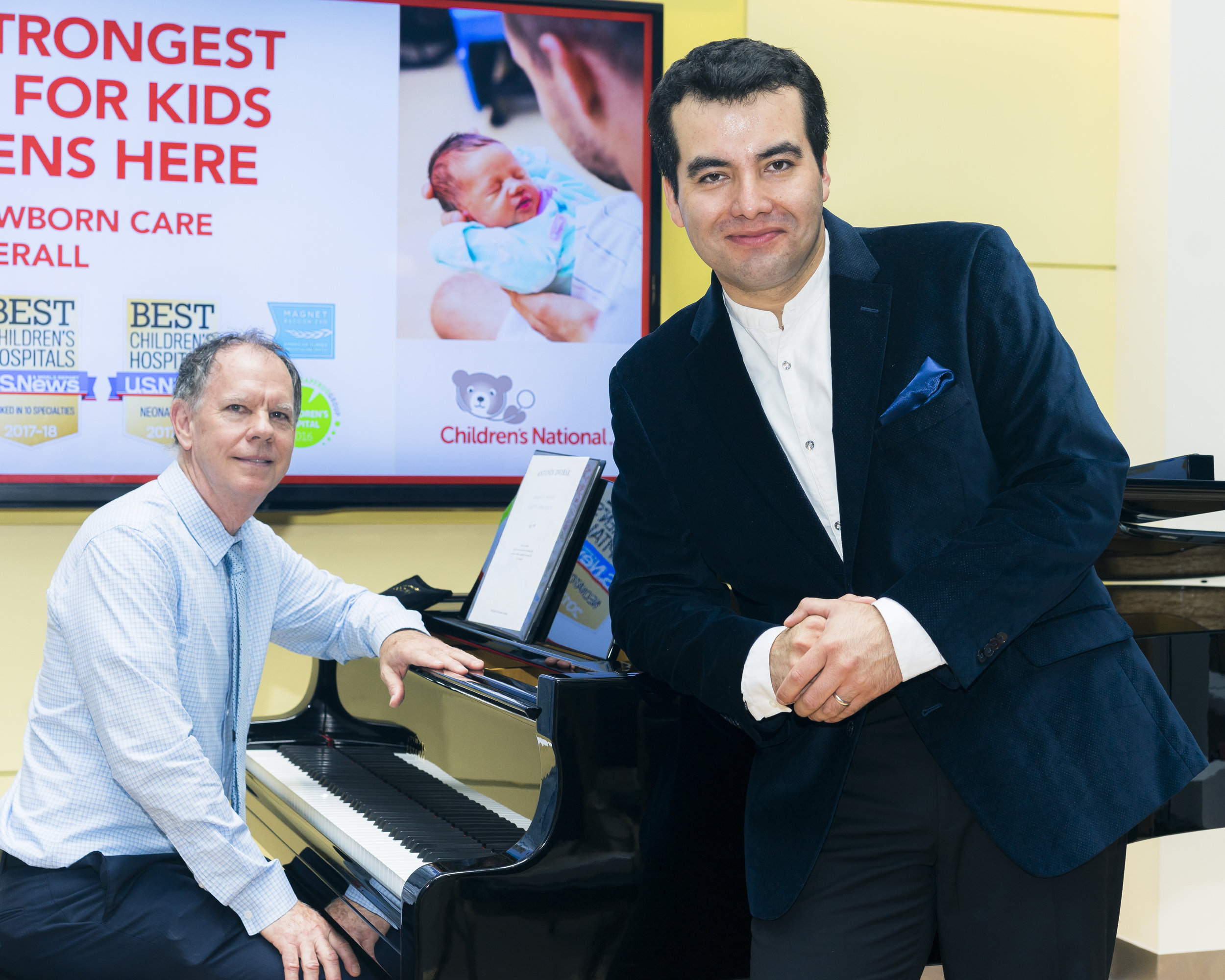 MDLO Founder Brad Clark and Baritone Javier Arrey at Children's National Medical Center.