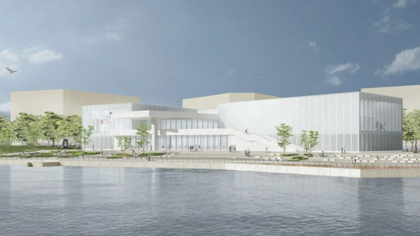 Uno dei primi rendering della sede cinese del Centre Pompidou che aprirà nel 2019.