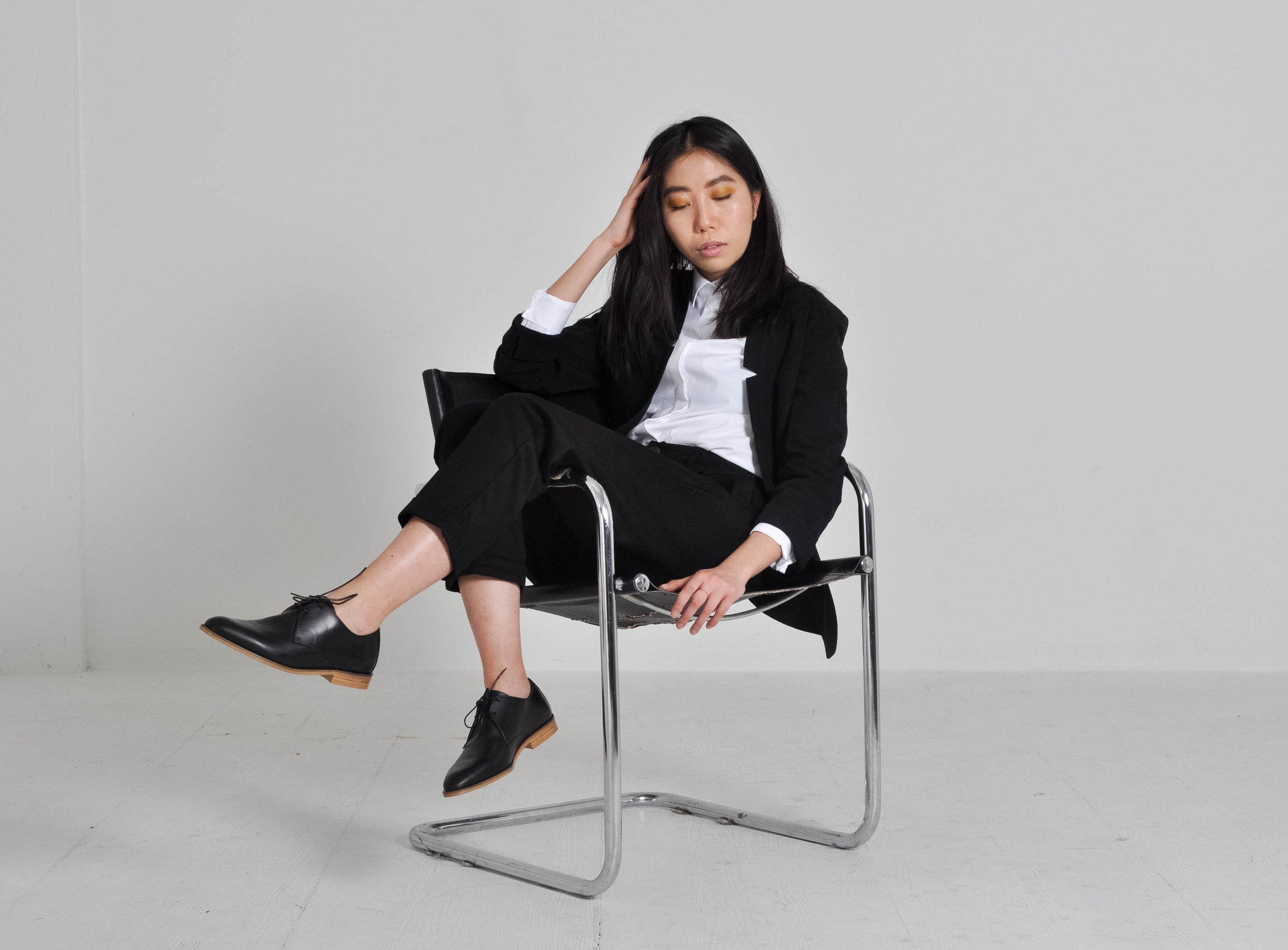 Deconstructed Blazer  worn with Kowtow's  Shore Relaxed Pant .