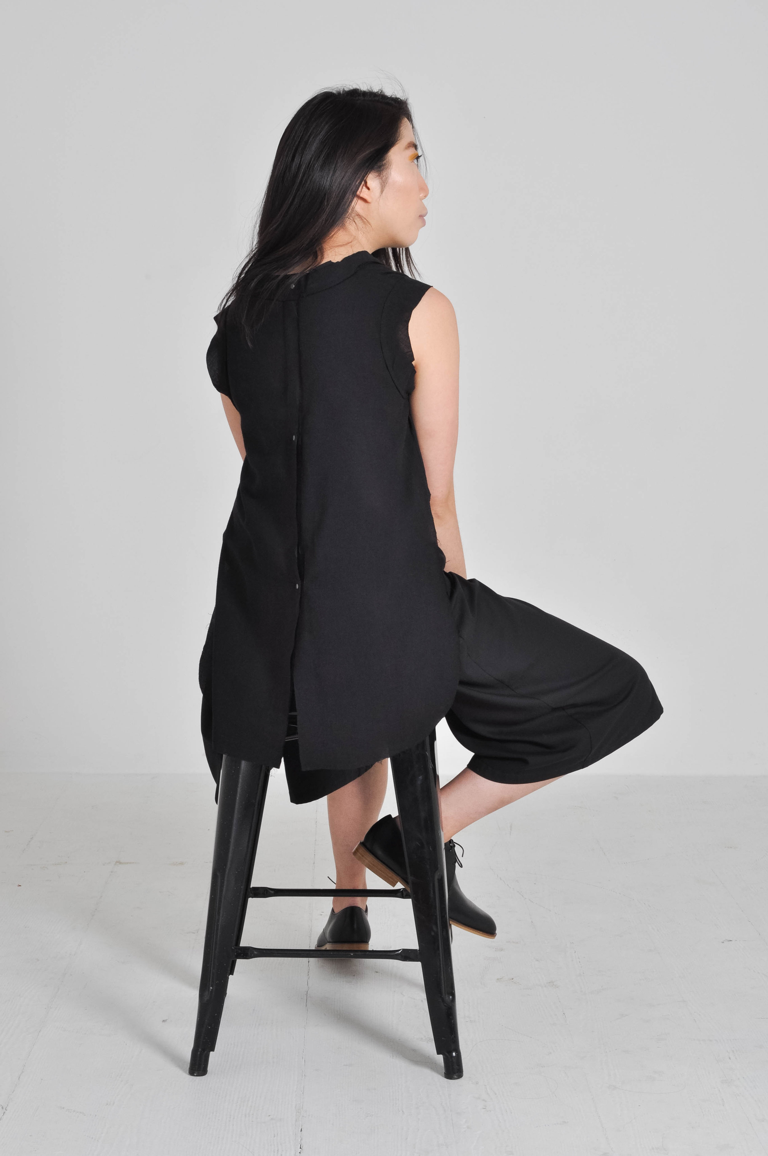 Frayed Edged Top in Black