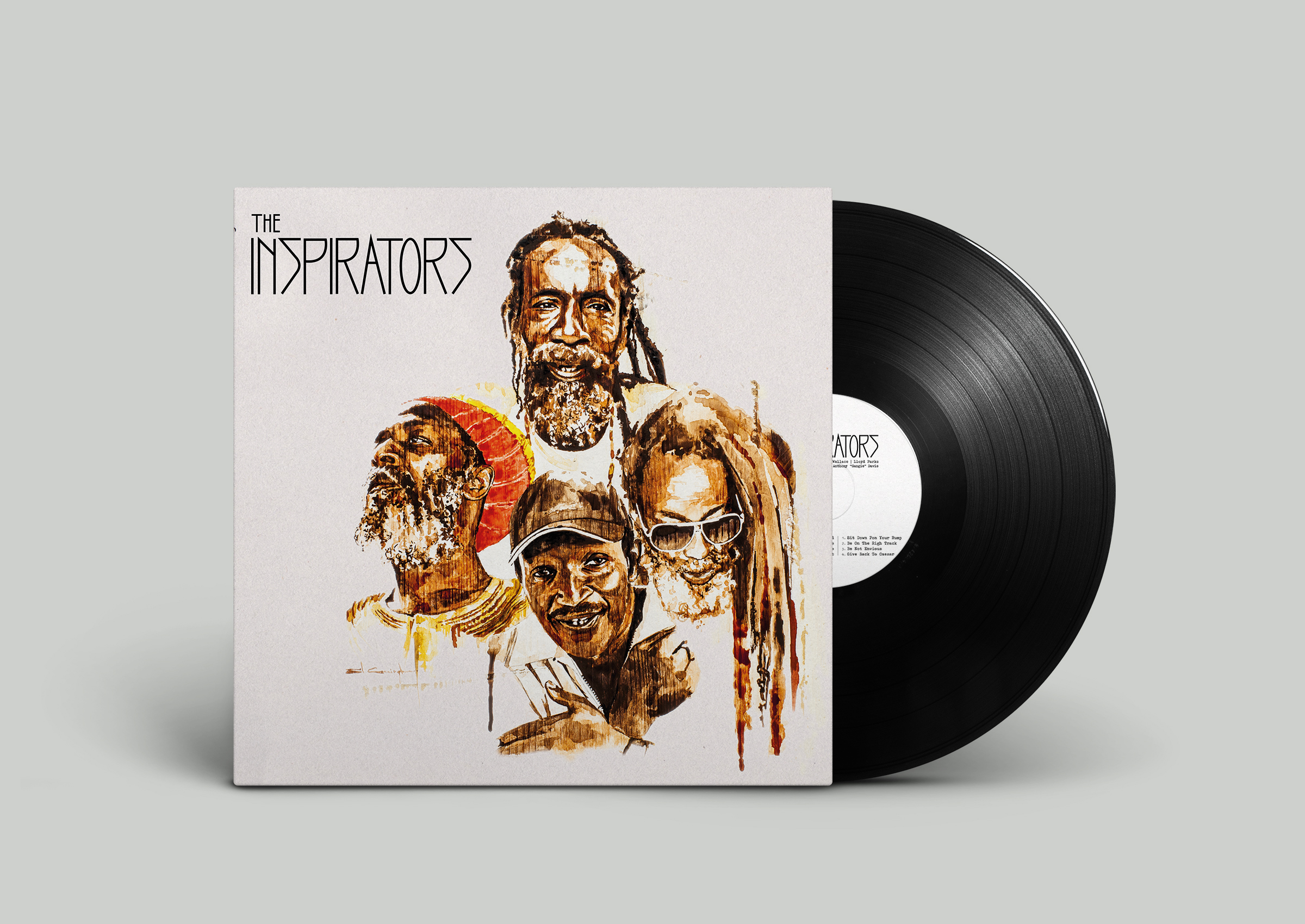 """LP cover and booklet design  The Inspirators, Leroy """"Horsemouth"""" Wallace, Lloyd Parks, Earl """"Chinna"""" Smith,Anthony """"Sangie"""" Davis, Mathias Liengme  Illustrations : Sil Cunningham  (U.K)  Graphic design : Liza Mazur  Label :  Fruits Records  (CH)  Switzerland, Jamaica, U.K. 2015"""