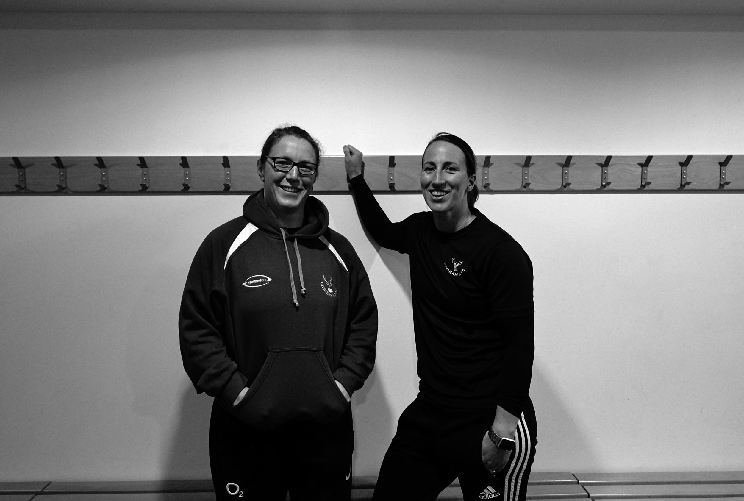 Kat Merchant and fellow Chesham coach and England's most capped rugby player, Rochelle 'Rocky' Clark