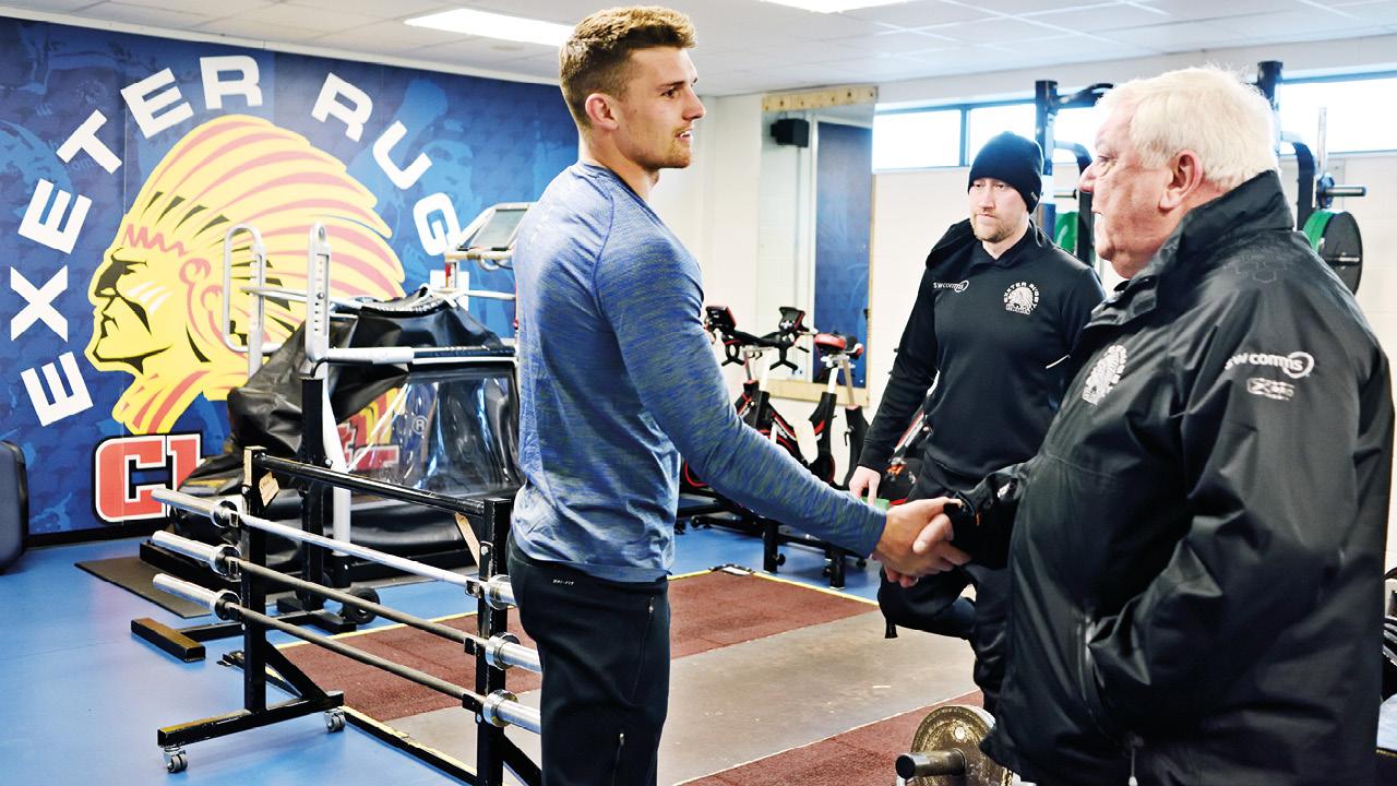 Tony greets England centre Henry Slade