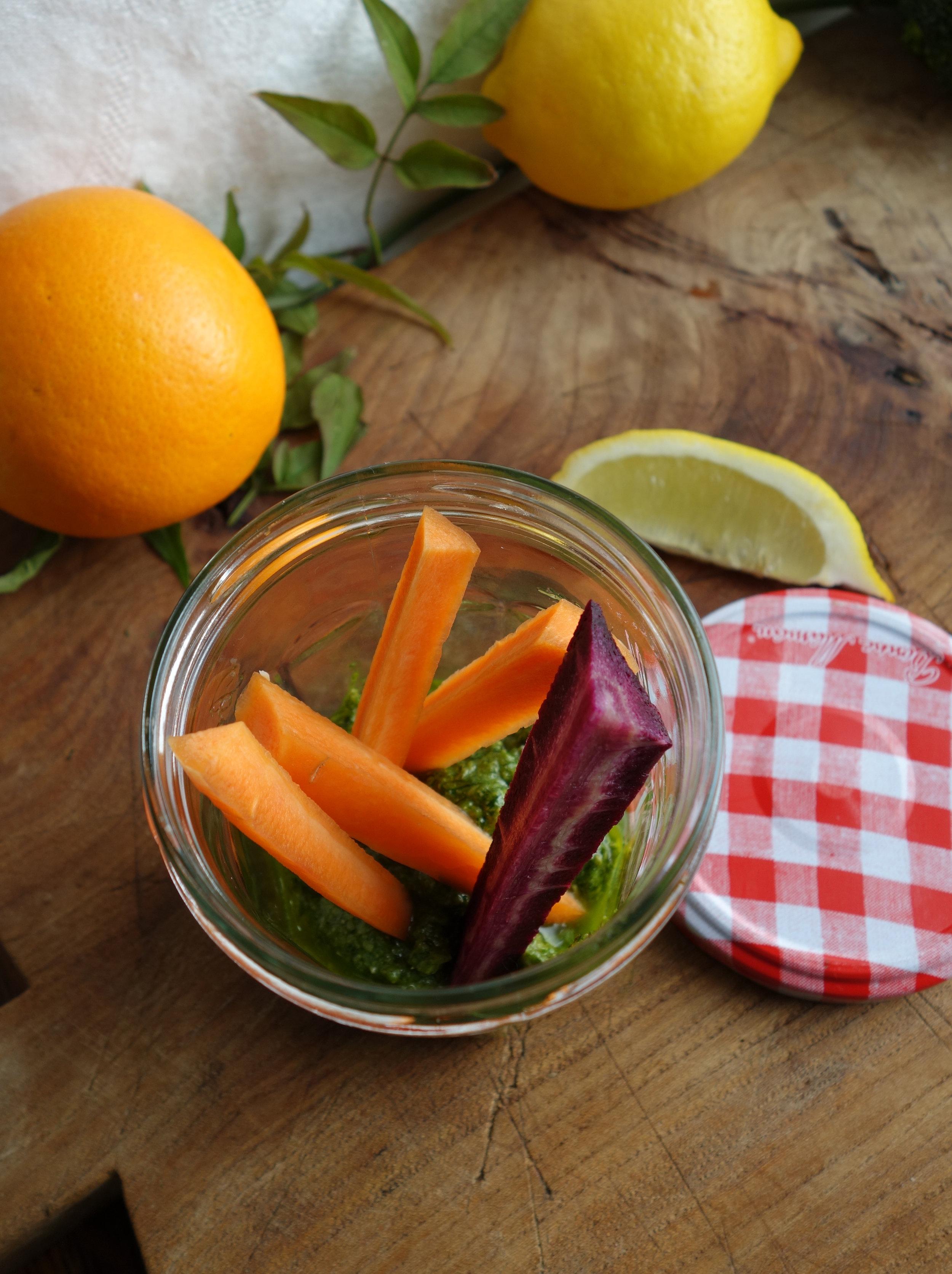 carrot sticks in glass jar