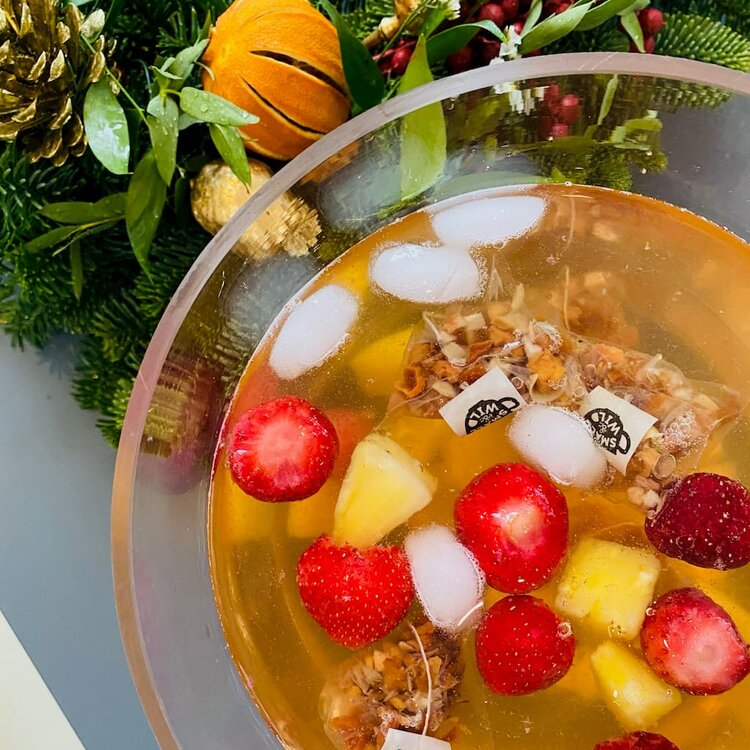 Jolly Croc punch with fruit pieces and ice