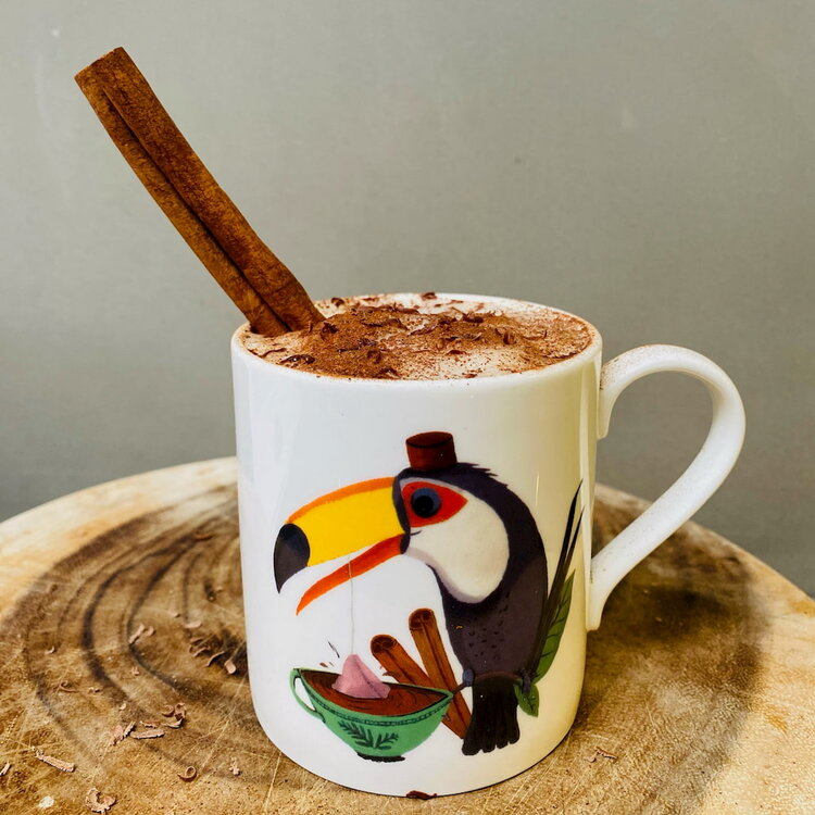 Frothy Happy Toucan drink with oat milk and cinnamon stick in toucan mug on rustic board